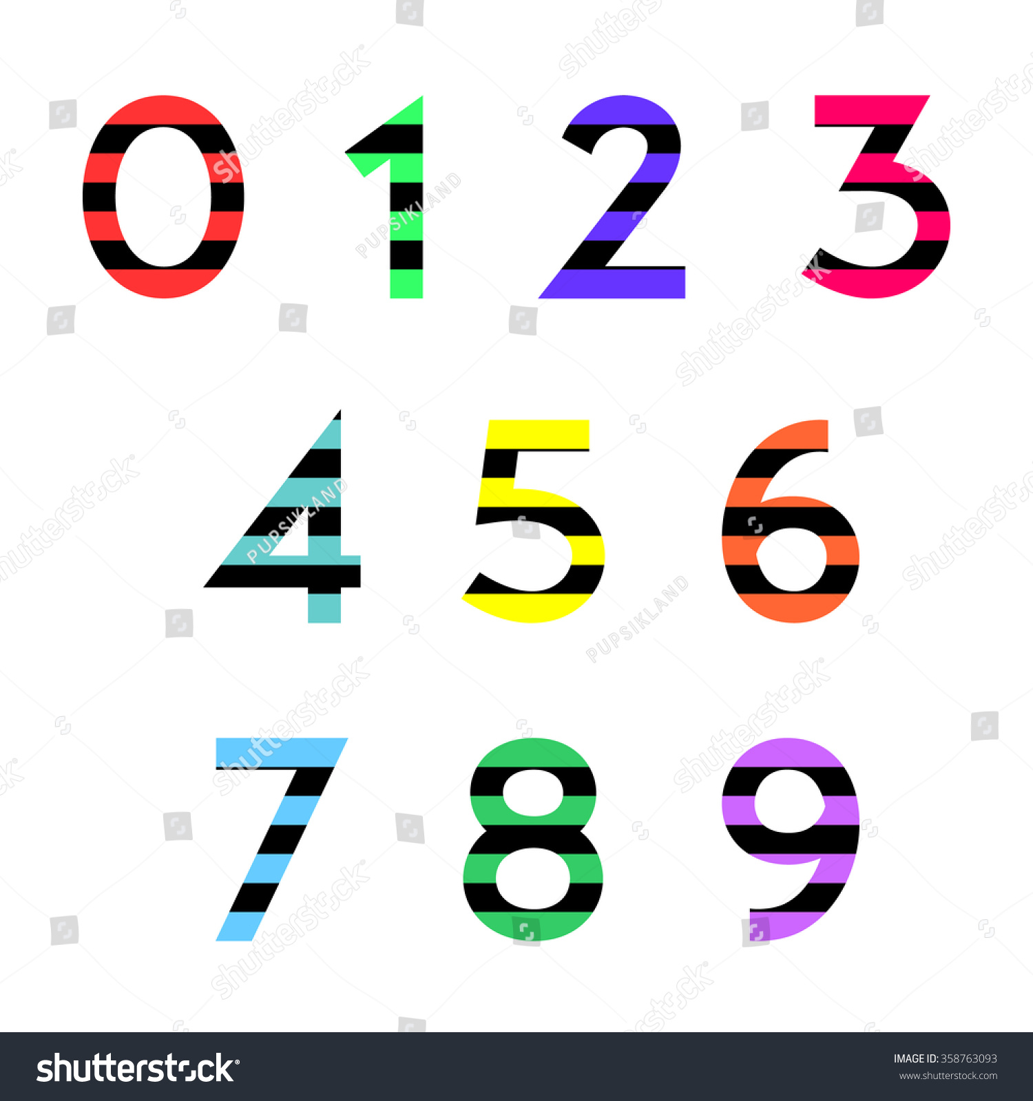 Set numbers zero nine striped black stock vector 358763093 set of numbers from zero to nine striped with black rectangles polygons transition line of biocorpaavc Image collections