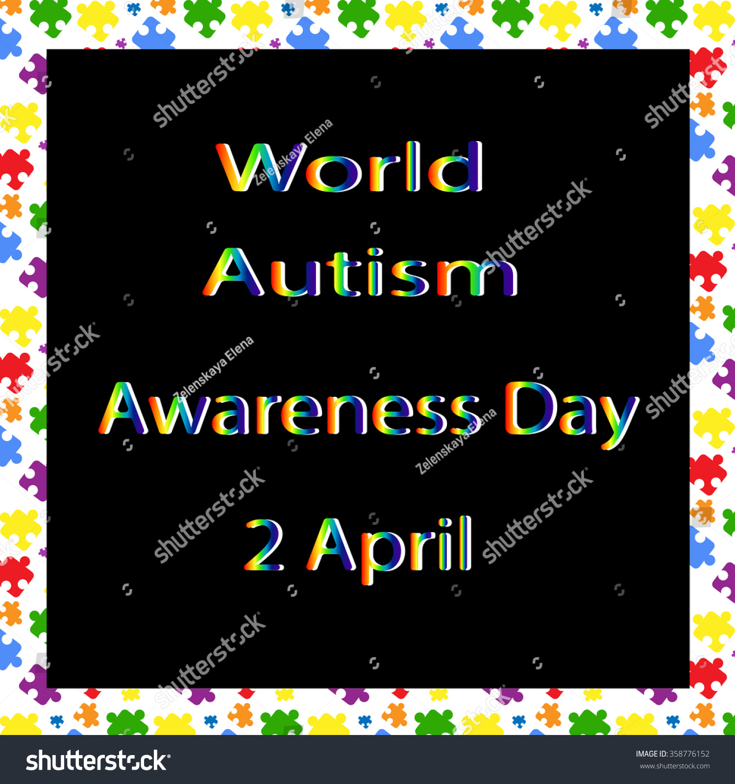 Color lettering world autism awareness day stock vector 358776152 color lettering world autism awareness day and the combination colorful puzzles symbol of autism biocorpaavc