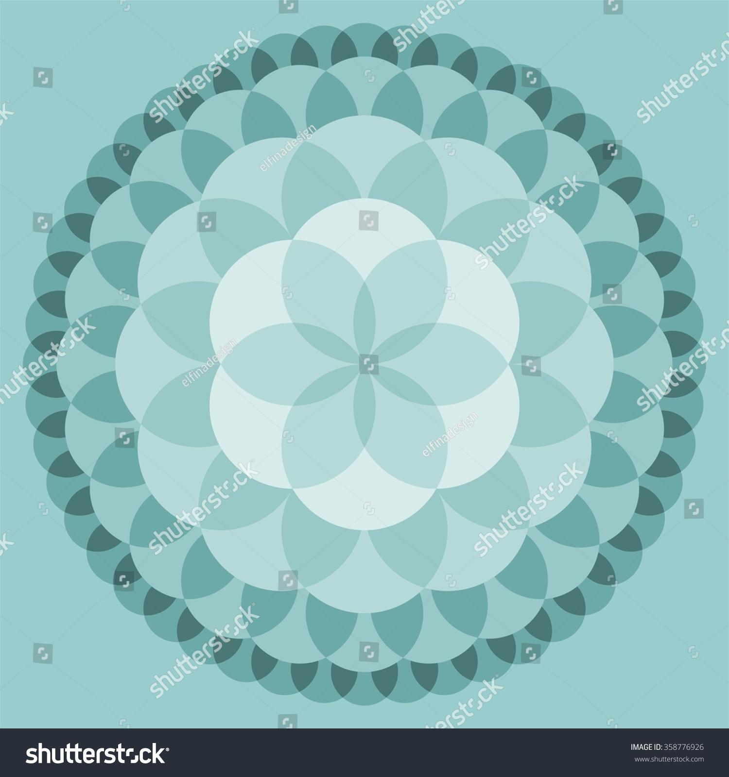 Flower Life Mandala Shades Teal Lotus Stock Vector Royalty Free