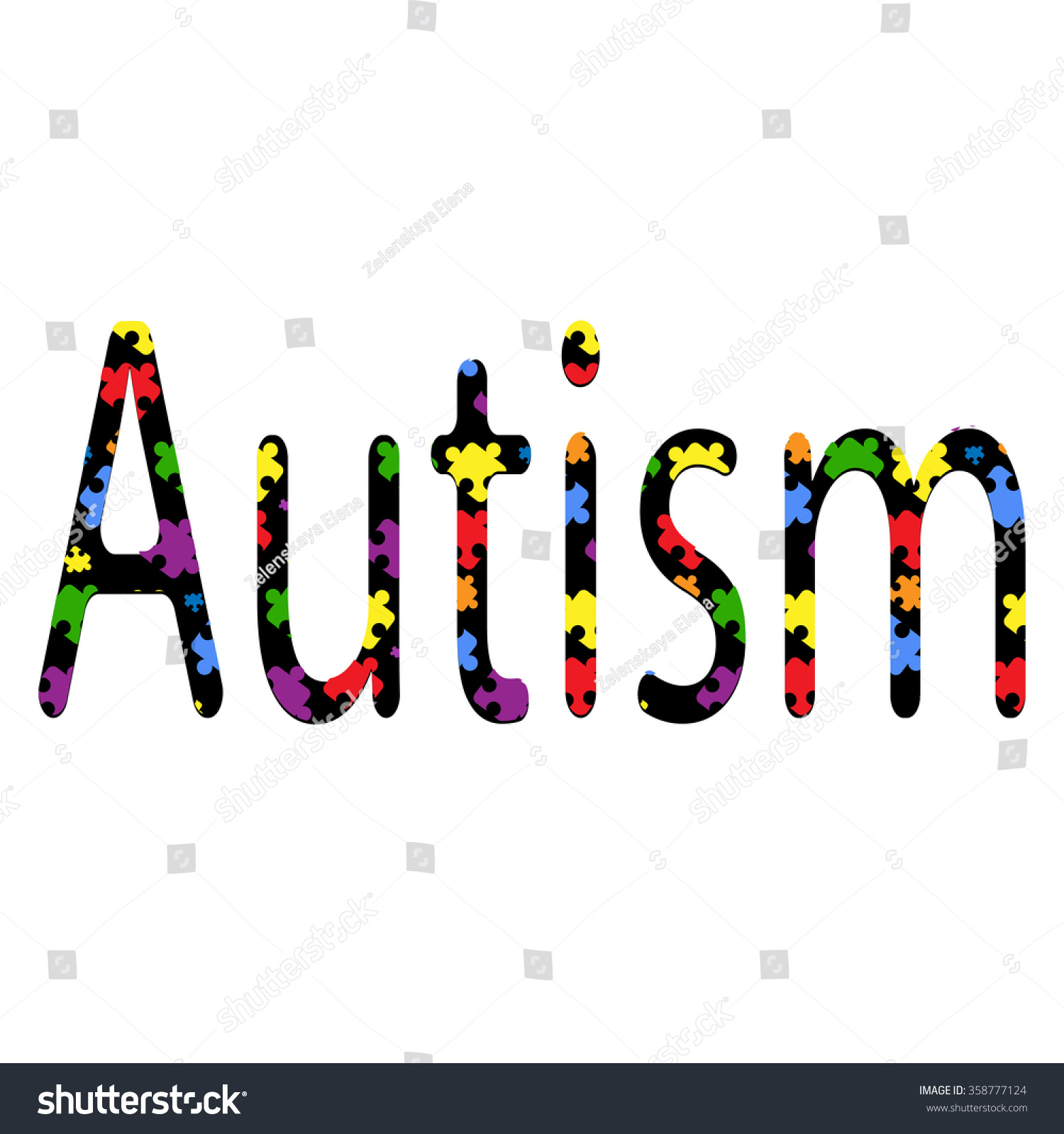 Autism inscription consisting colored puzzles on stock vector autism inscription consisting of colored puzzles on a white background symbol of autism biocorpaavc