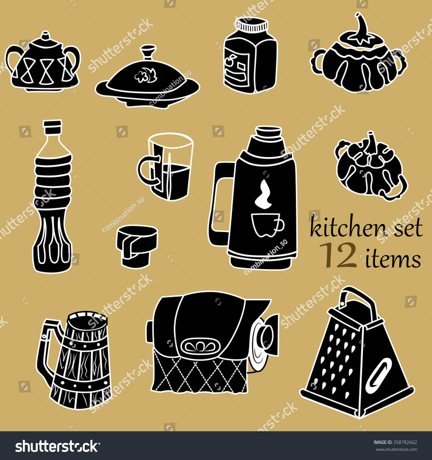 Vector Kitchen Set: Sugar Bowl, Thermos, Jar Of Jam, Paper Towels.