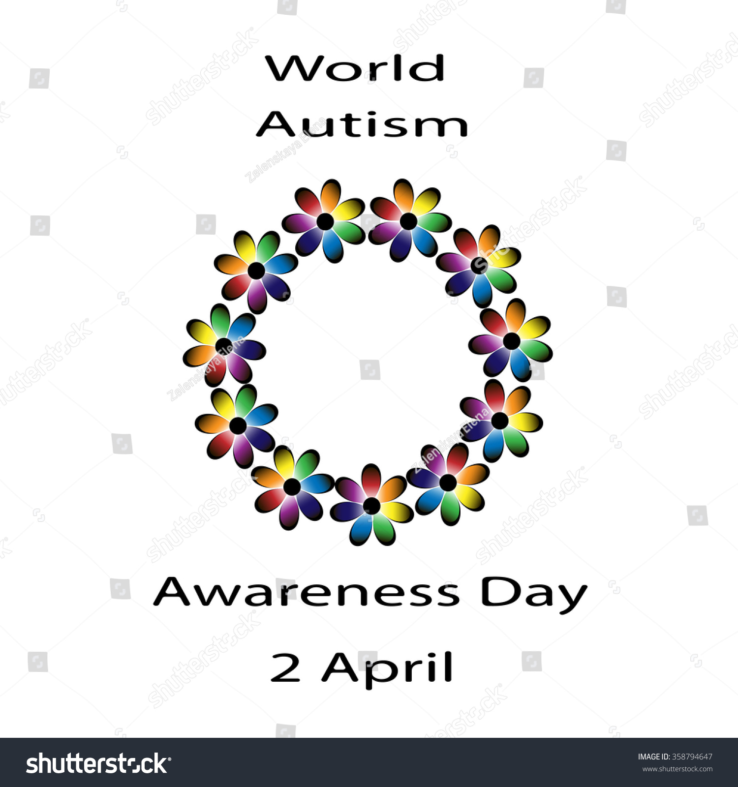Black lettering world autism awareness day stock vector 358794647 black lettering world autism awareness day and colorful flowers around on white background symbol of biocorpaavc