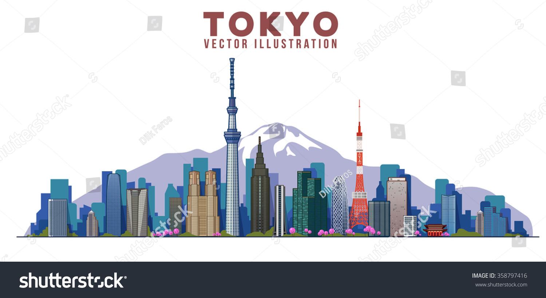 tokyo skyline vector illustration city landscape stock Mountain Silhouette Clip Art Mountain Range Clip Art
