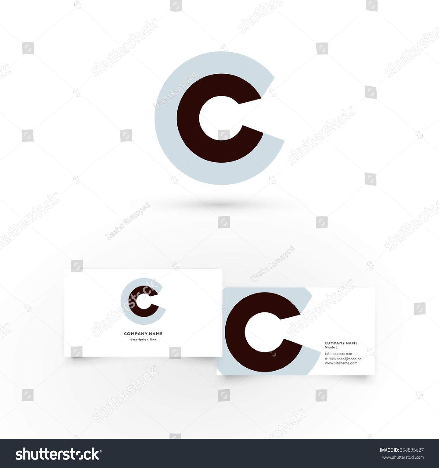 modern icon design c letter shape stock vector
