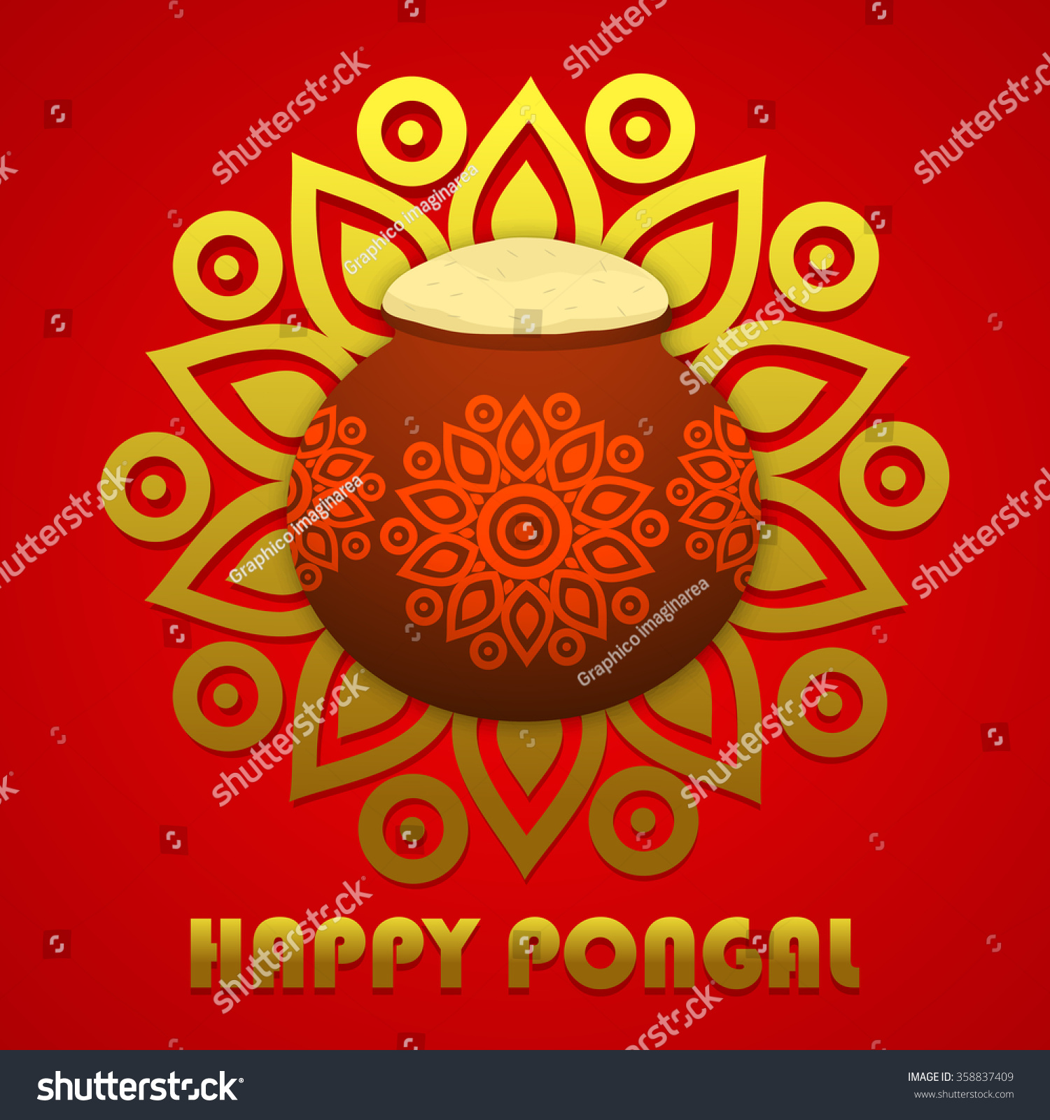 Happy Pongal Festival Design Decorated Greeting Stock Vector
