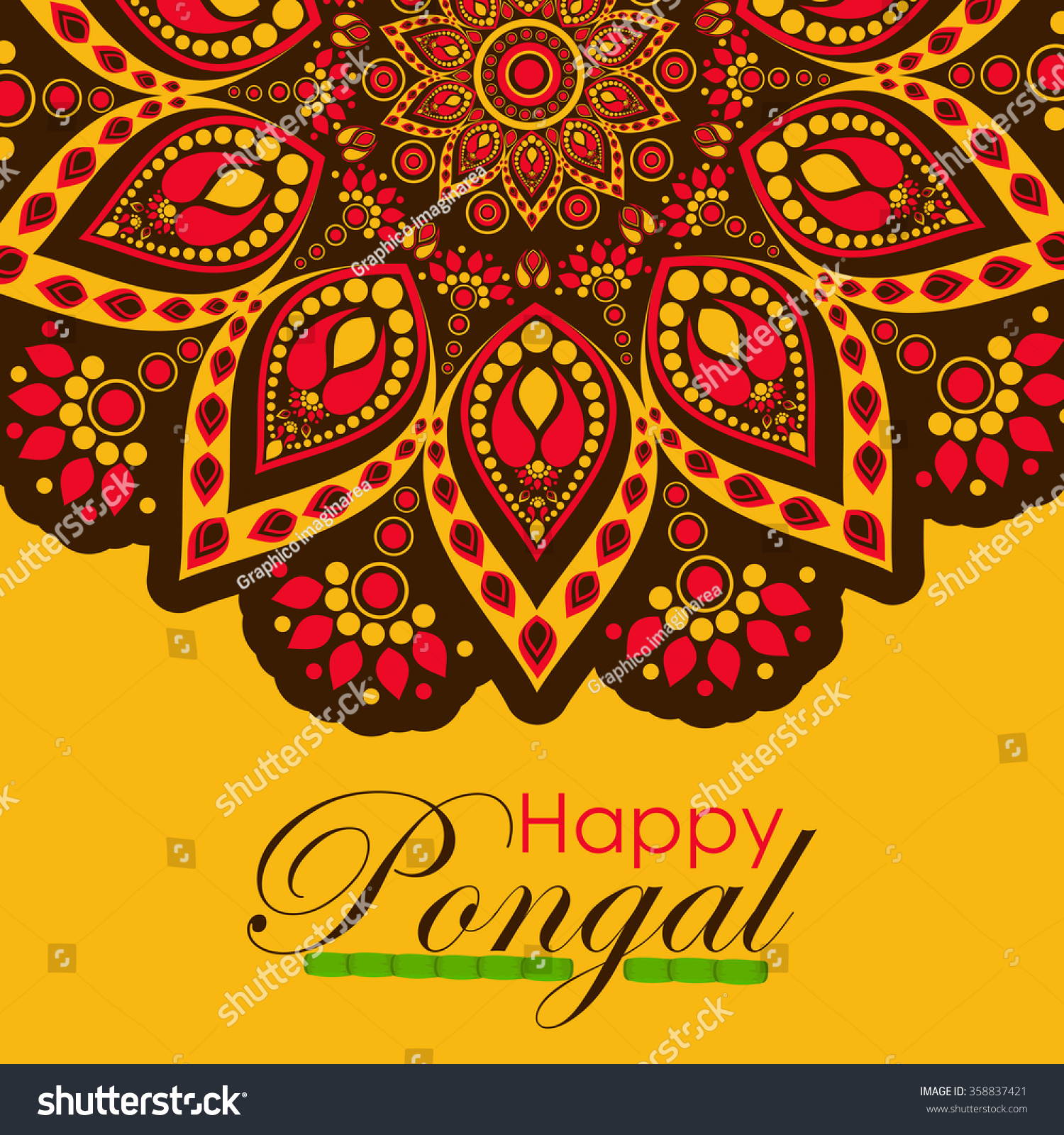 Happy pongal festival design decorated greeting stock vector happy pongal festival design decorated greeting card for south indian harvesting festival kristyandbryce Images