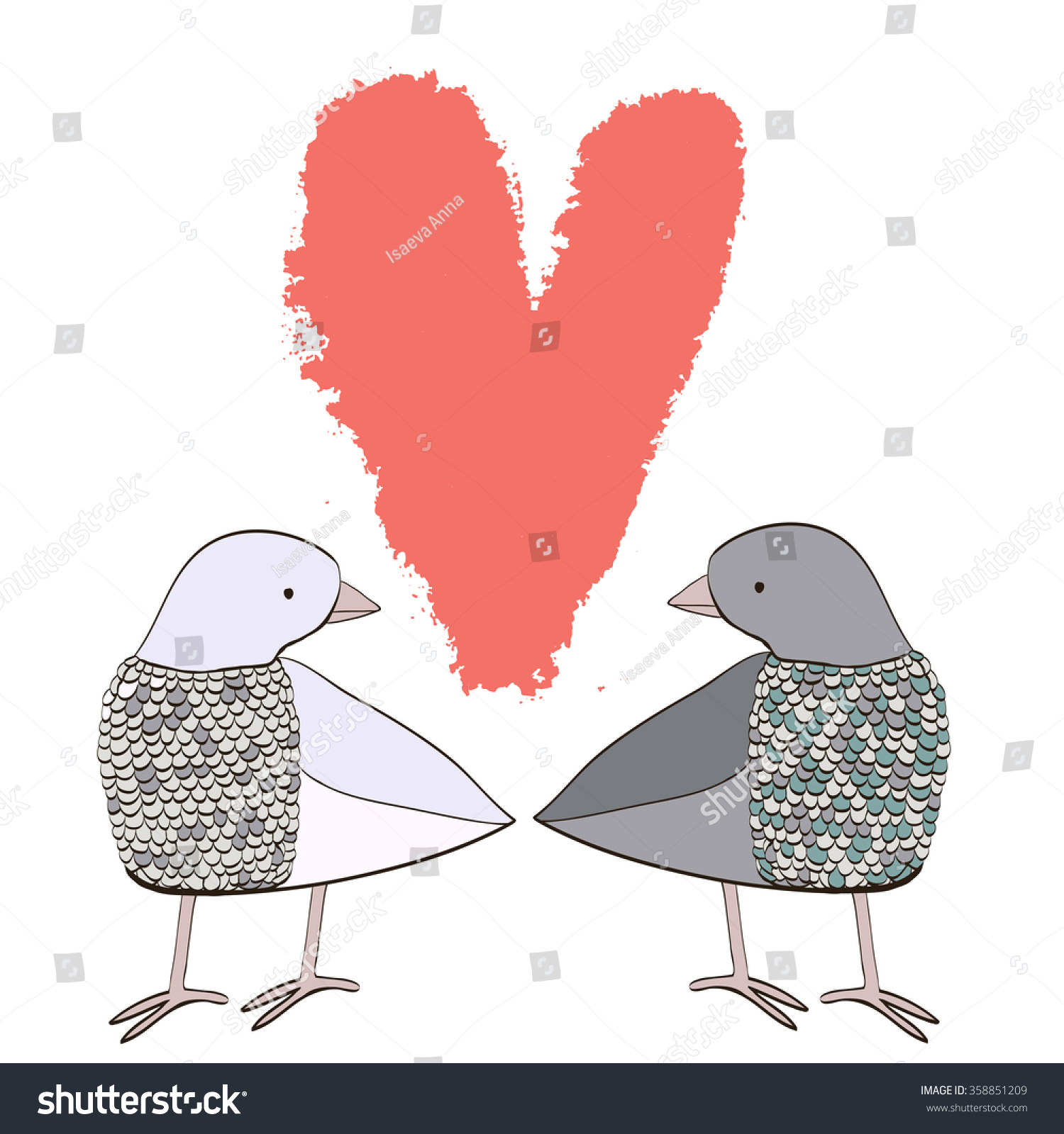 cartoon couple of doves in love with heart template for greeting card with happy wedding