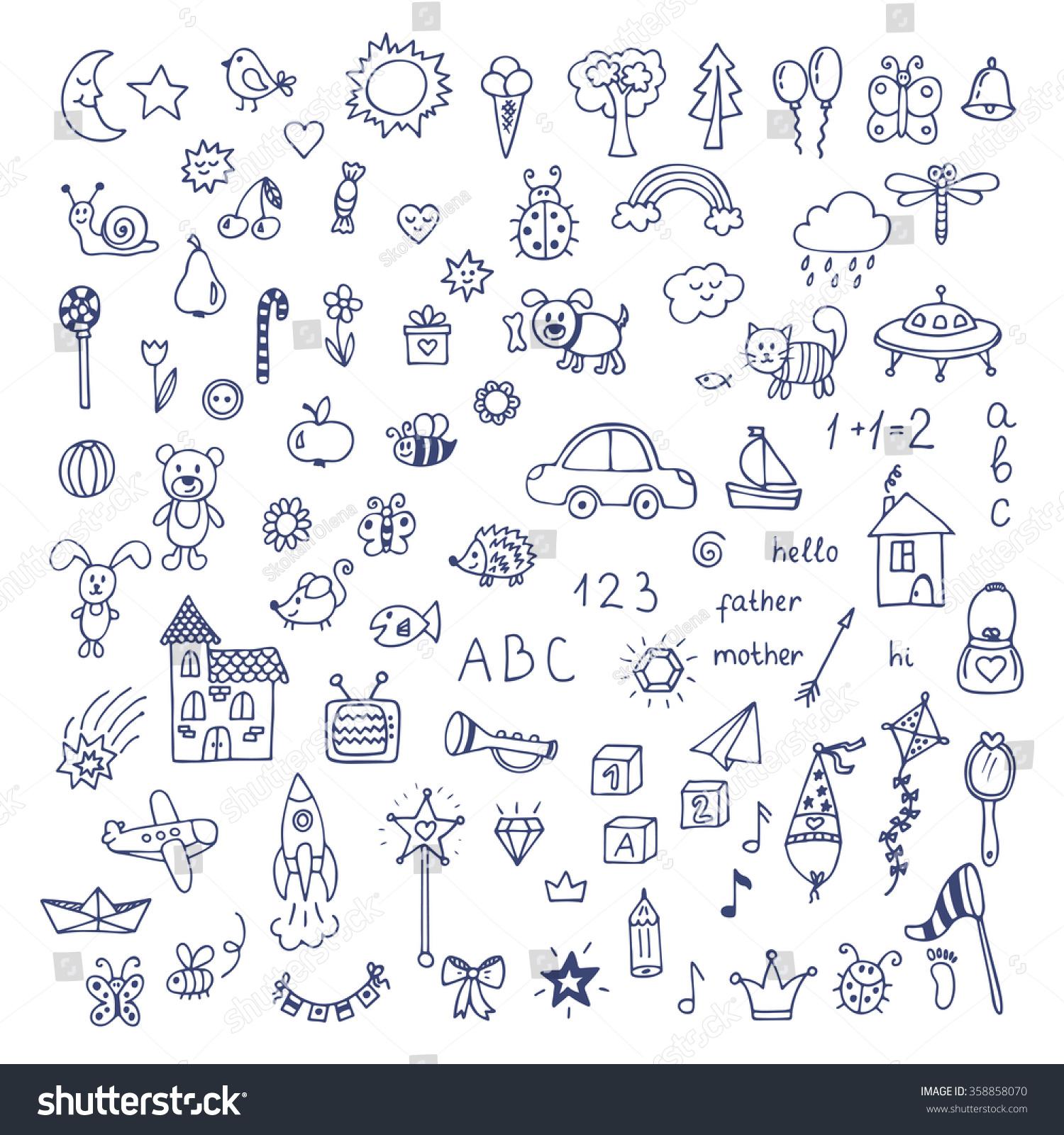 Suchen Sie nach Set handgezeichnete süße Doodles. Doodle ...
