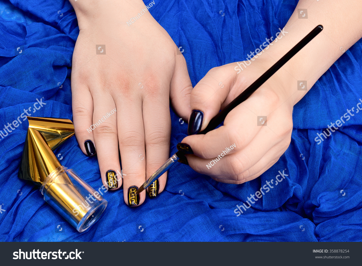 Painting Fingers Dark Blue Nails On Stock Photo 358878254 - Shutterstock