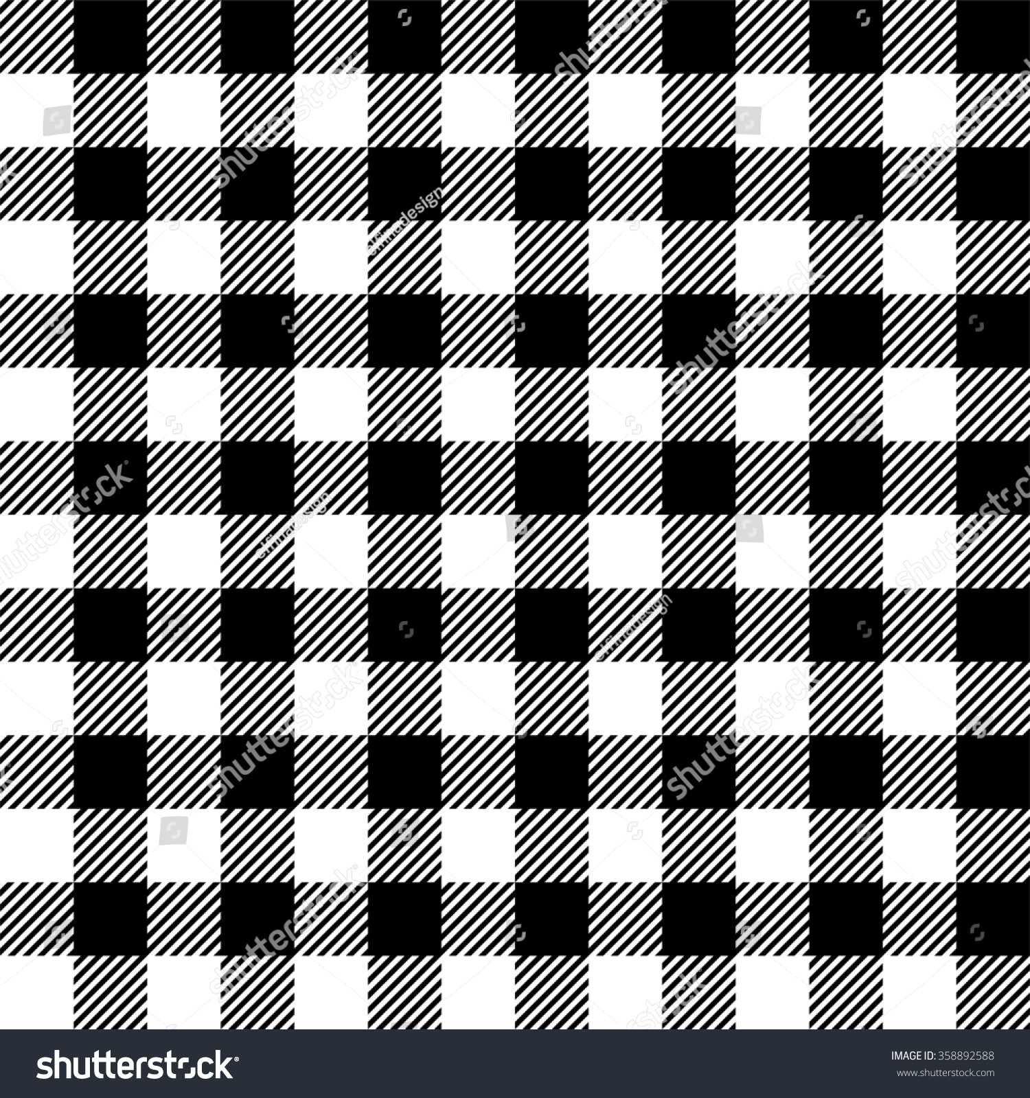 Seamless Pattern Gingham Tablecloth In Black