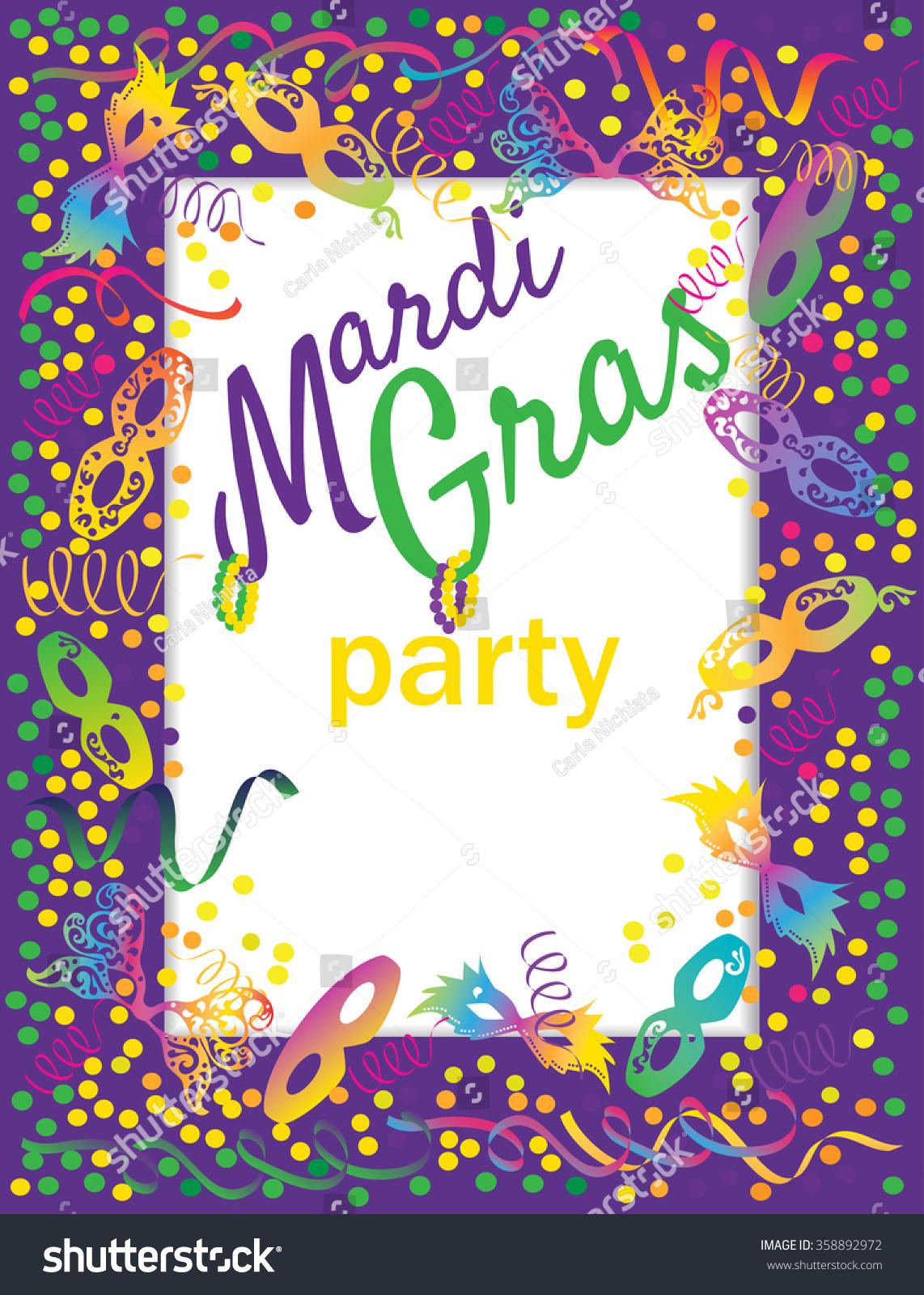 Mardi gras party invitations mardi gras party invitation backdrop vector stock vector 358892972 monicamarmolfo Choice Image