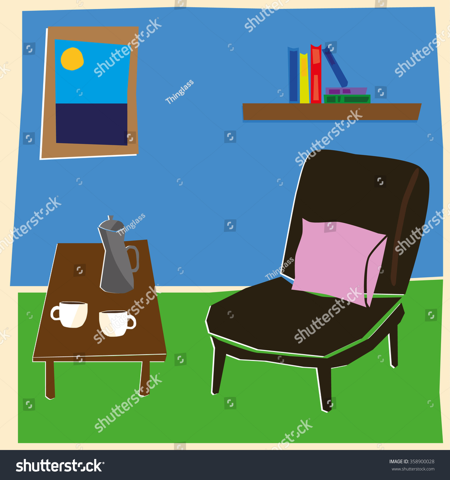 Home Living Space Hand Drawn Style Stock Vector 358900028