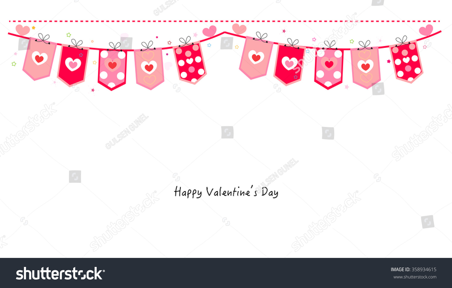 Vector bunting flags lovely celebration card with colorful paper - Valentine Day Hearts Decorative Banner Vector