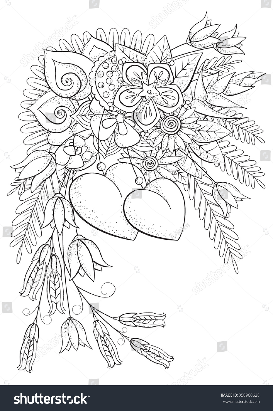 Coloring pages for adults valentines day - Coloring Book For Adult And Older Children Vector Illustration Coloring Page Valentine S Day