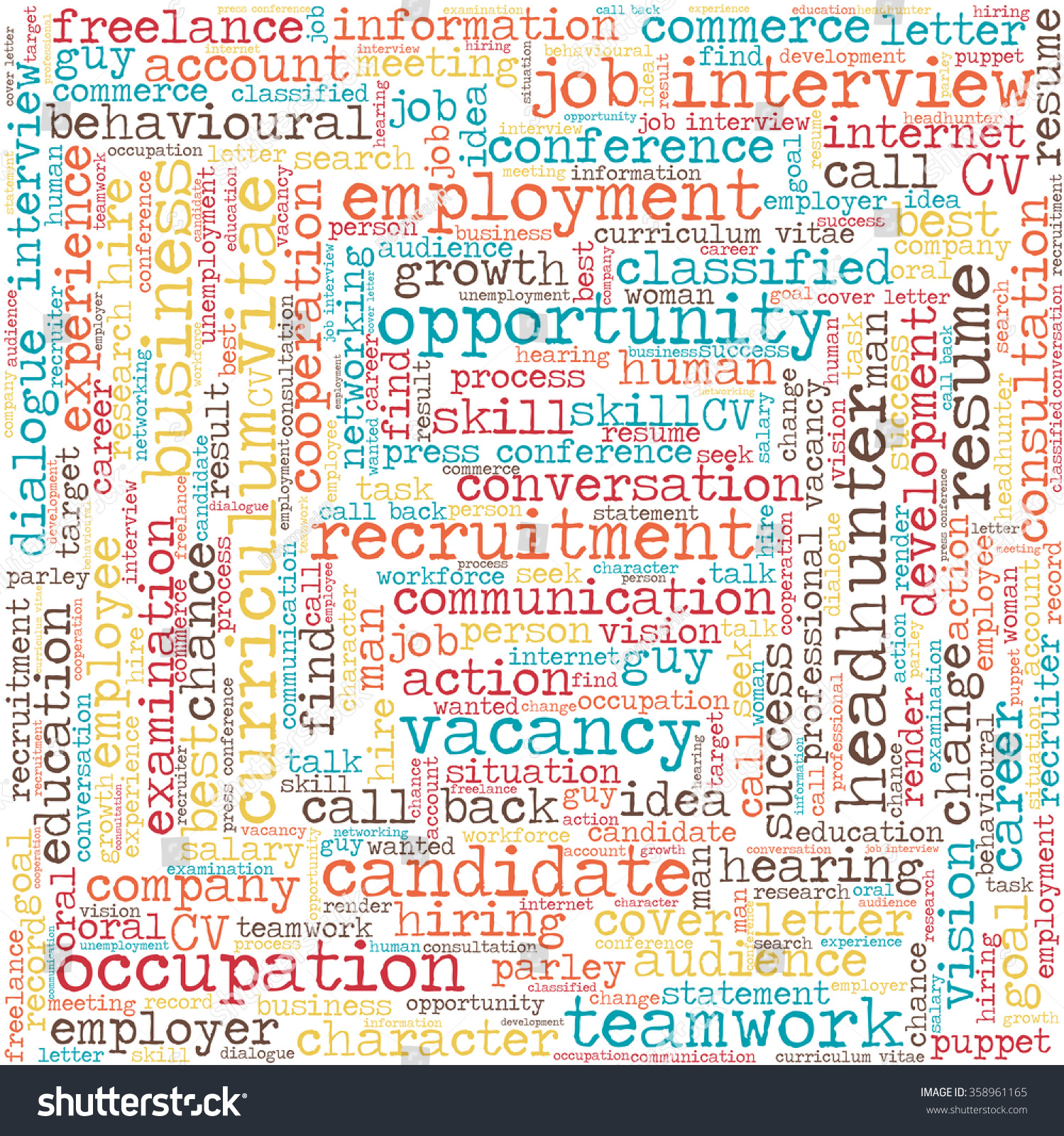 word cloud related to job interview employment and recruitment in save to a lightbox