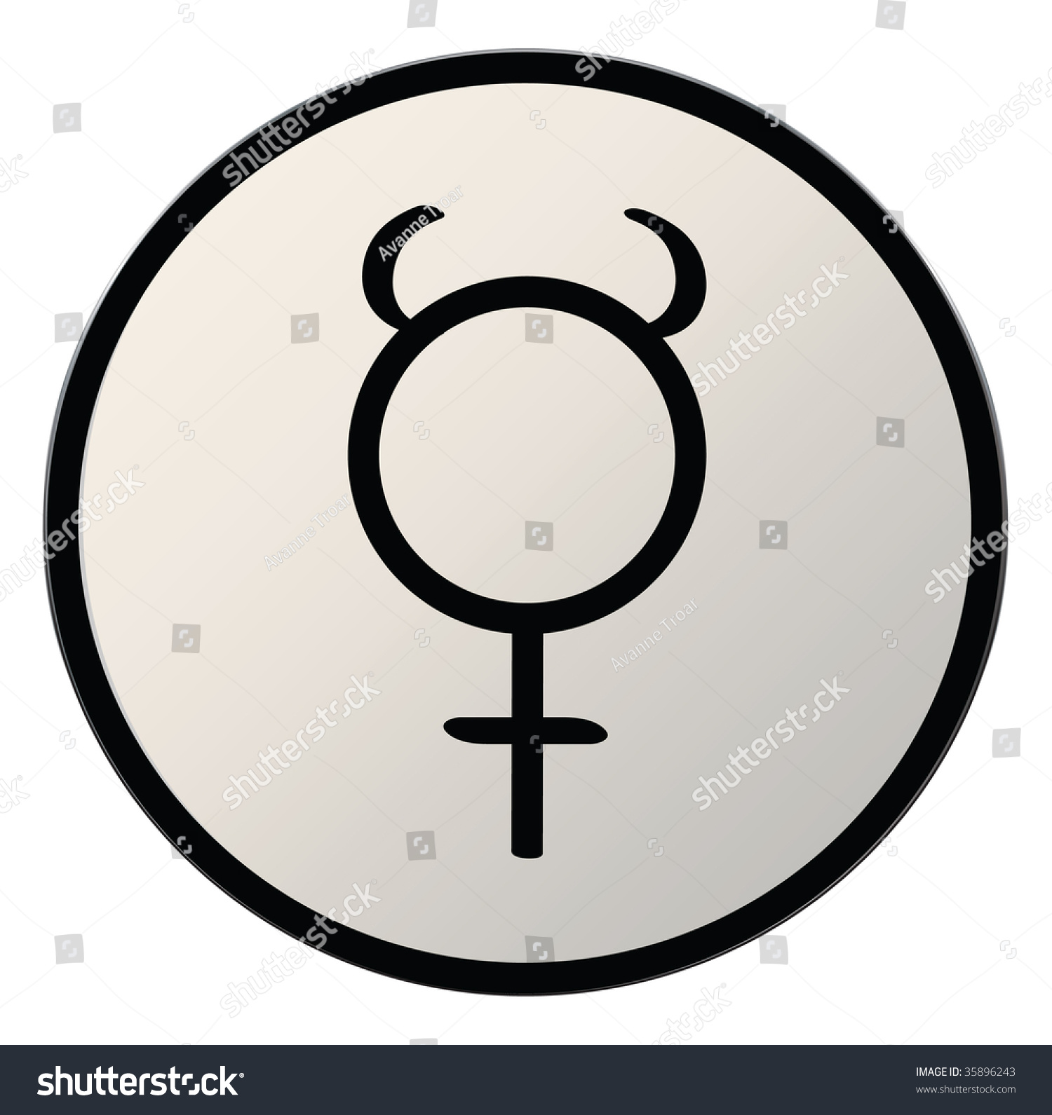 Astrological Symbol Planet Mercury Button Silver Stock Illustration