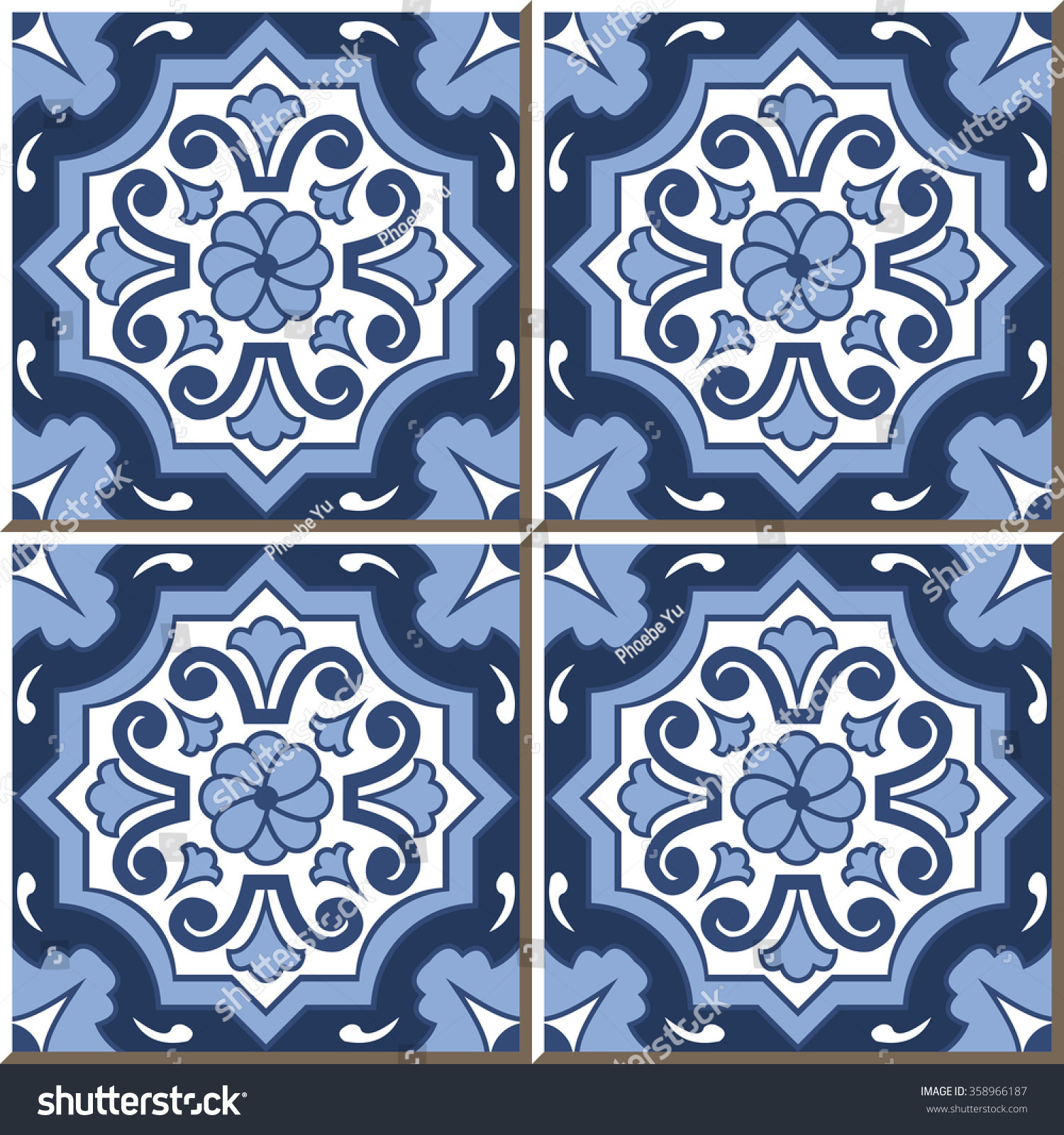 Vintage Seamless Wall Tiles Blue Tone Stock Vector 358966187 ...