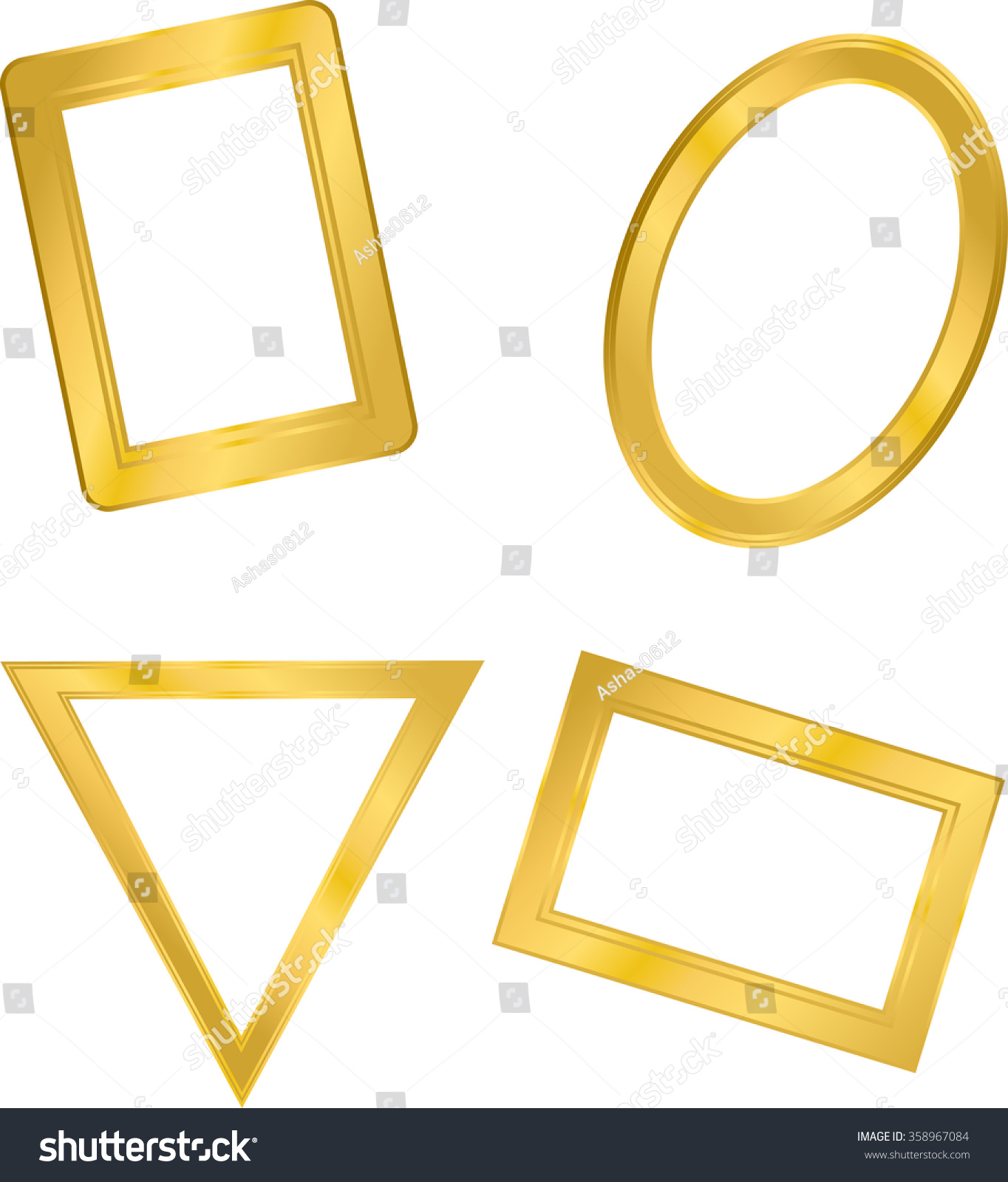 frame in the shape of a triangle rectangle circle metal gold four