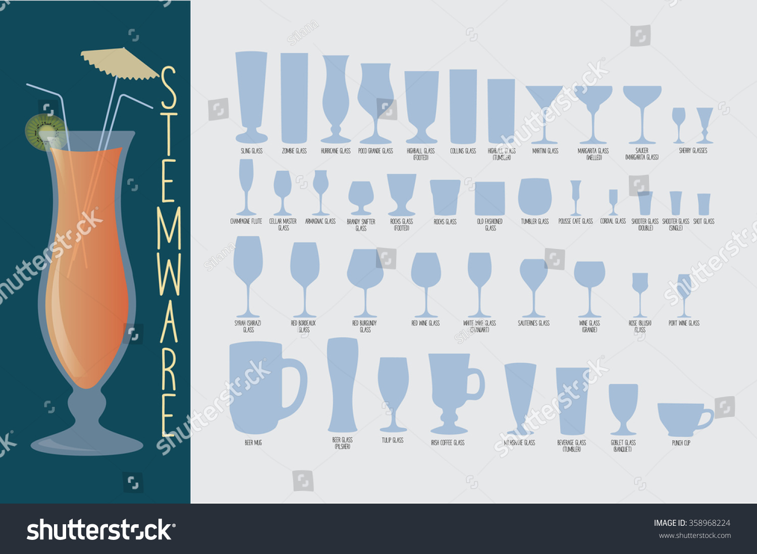 Stemware Set Glasses Types Cocktail Whiskey Stock Vector Royalty Free 358968224,What Is A Marriage License Application