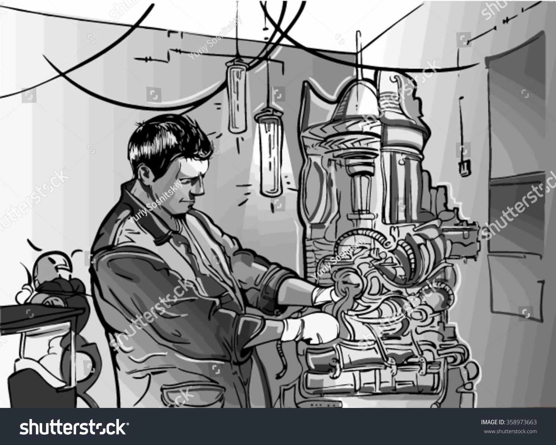 sketch of man and generator mechanic