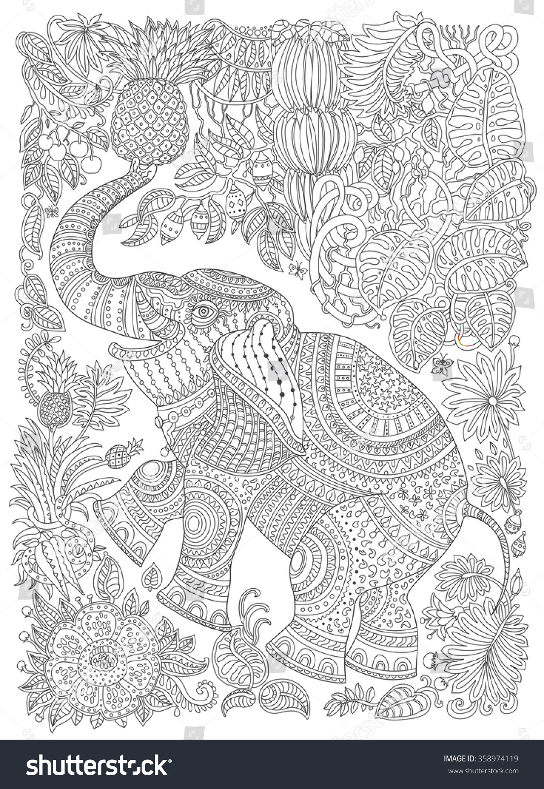 vector decorative fantasy stylized ornate elephant silhouette zen tangle fantastic flowers fruits butterfly