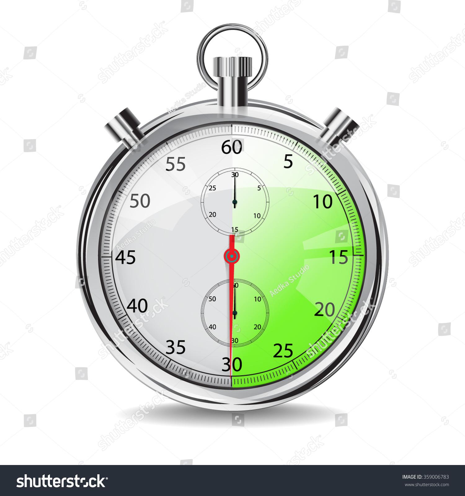 30 Seconds Stop Watch Mechanical Stopwatch Stock Vector 359006783 ...