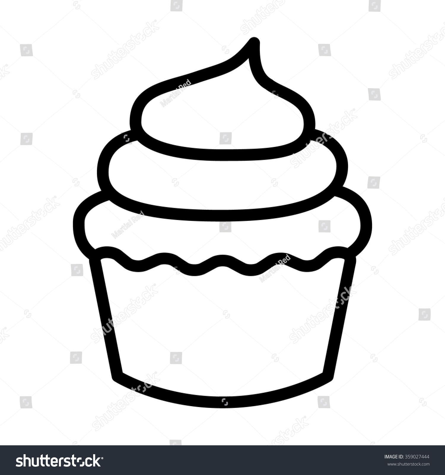Line Art Website : Cupcake dessert line art icon apps stock vector