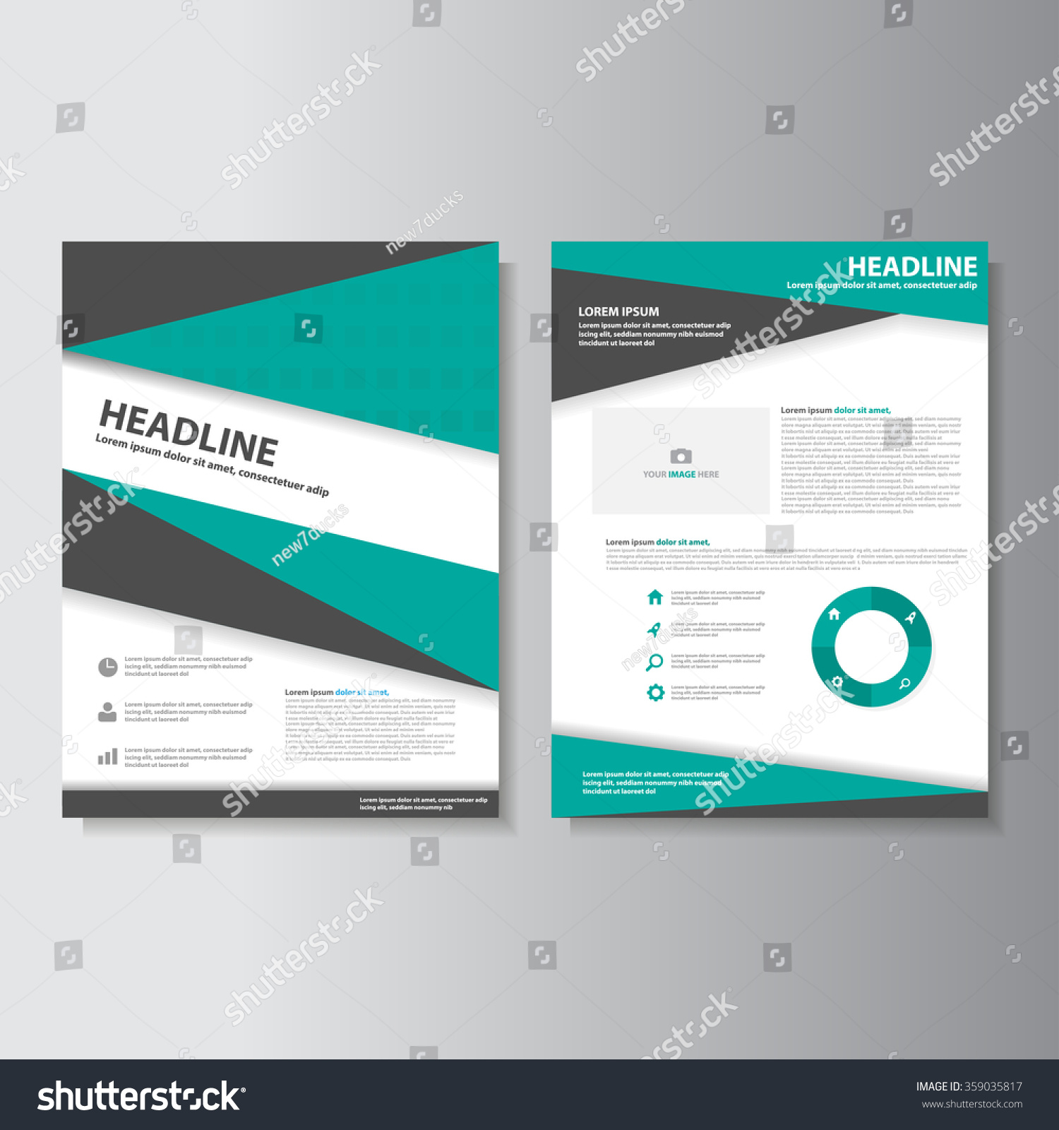 Green brochure A4 flyer leaflet template set for marketing and ...