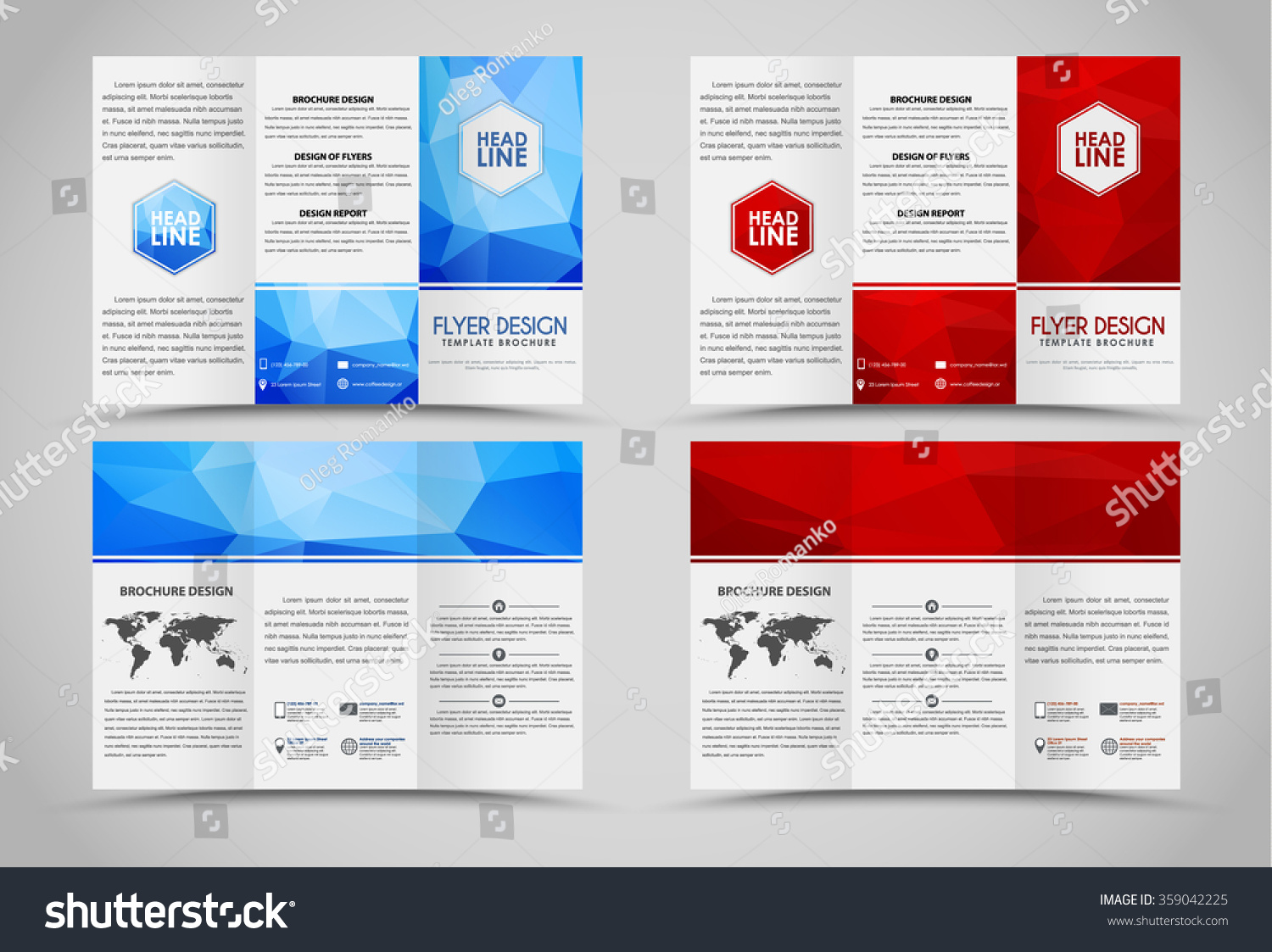 design folding brochures red blue polygonal stock vector royalty