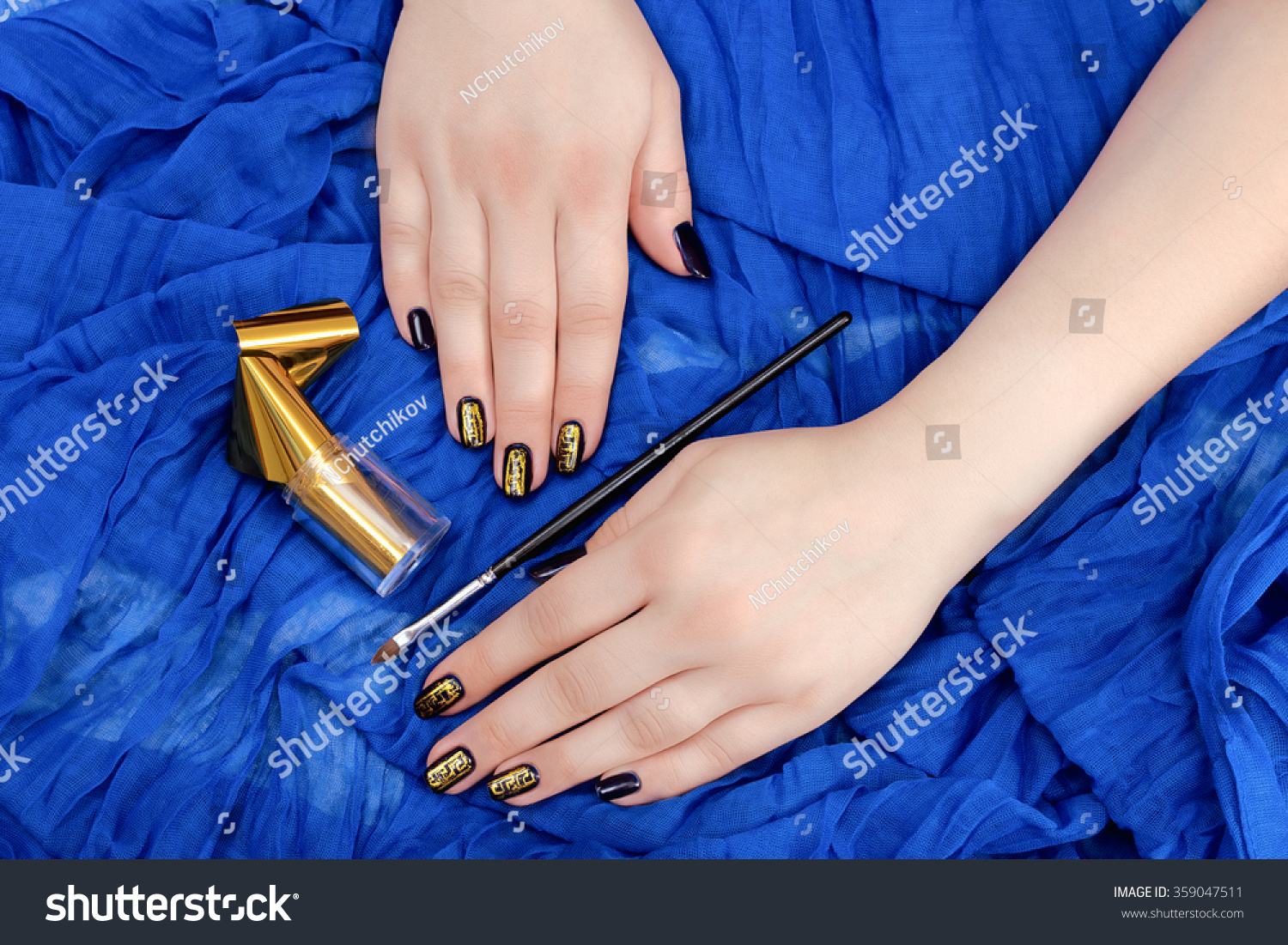 Painting Fingers Dark Blue Nails On Stock Photo (Royalty Free ...