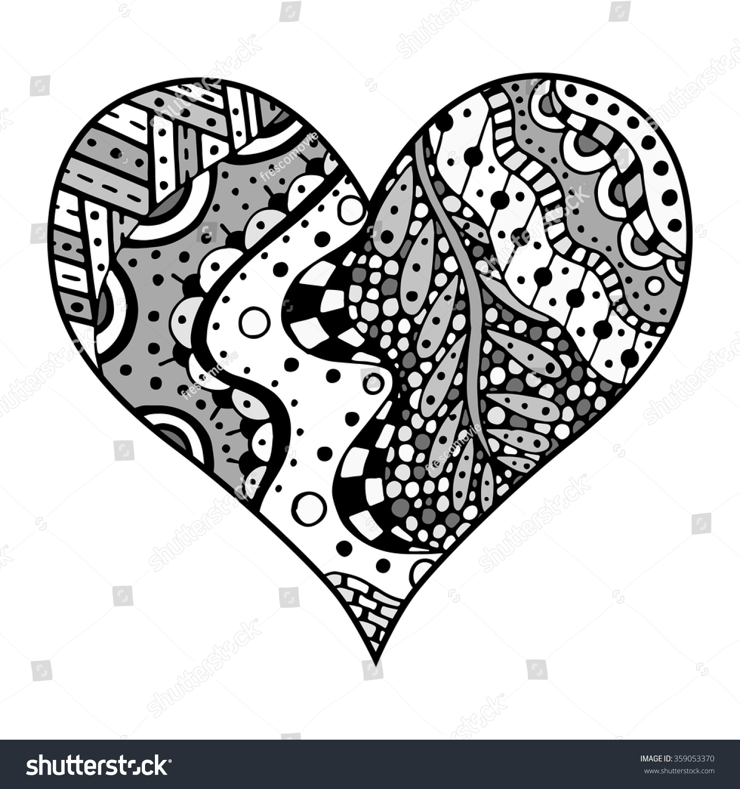 Heart Zentangle Coloring Pages Best Of Zentangle Coloring Page ... | 1600x1500
