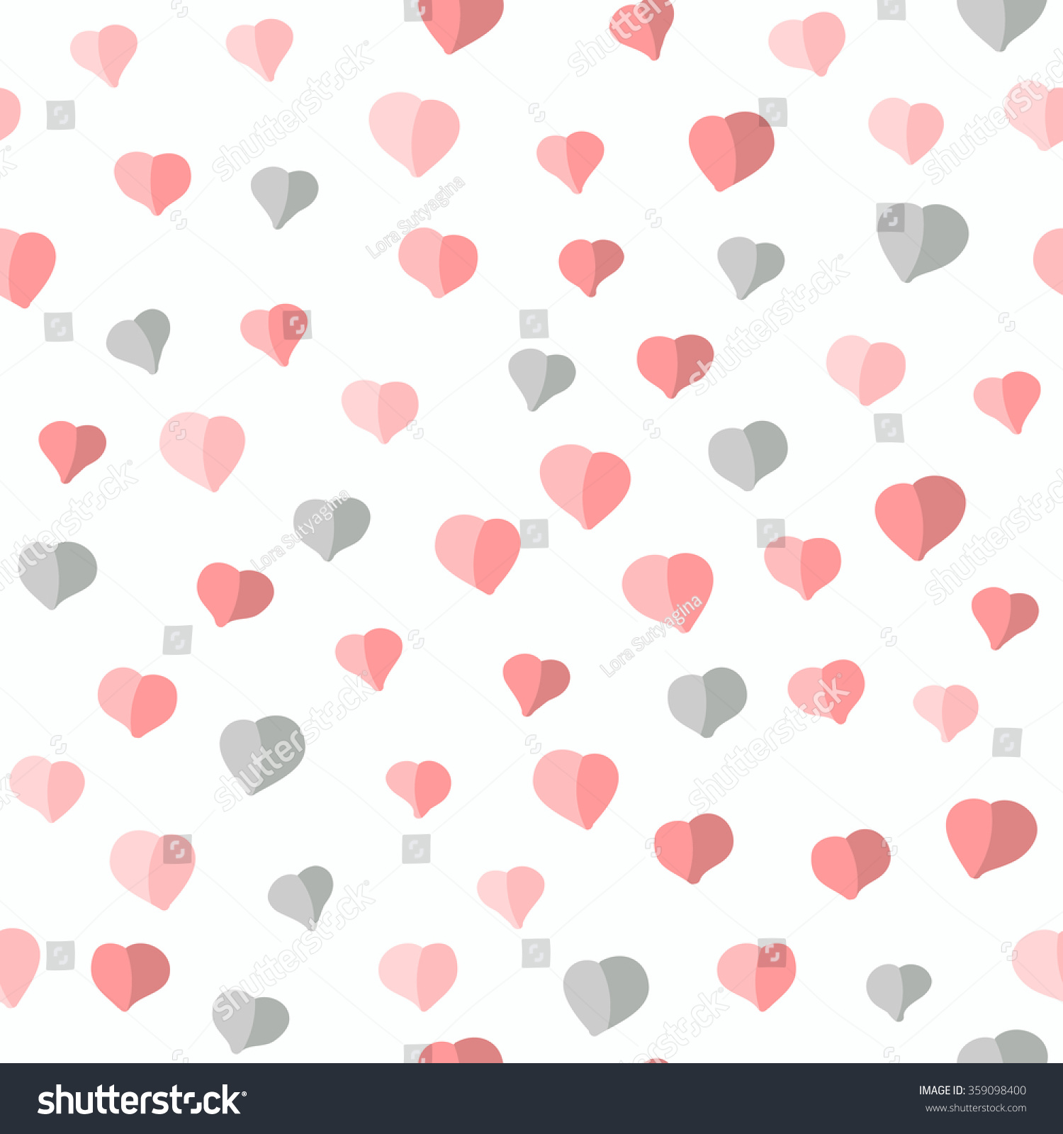 Gray And Pink Hearts: Seamless Pattern Hearts Valentines Day Background Stock