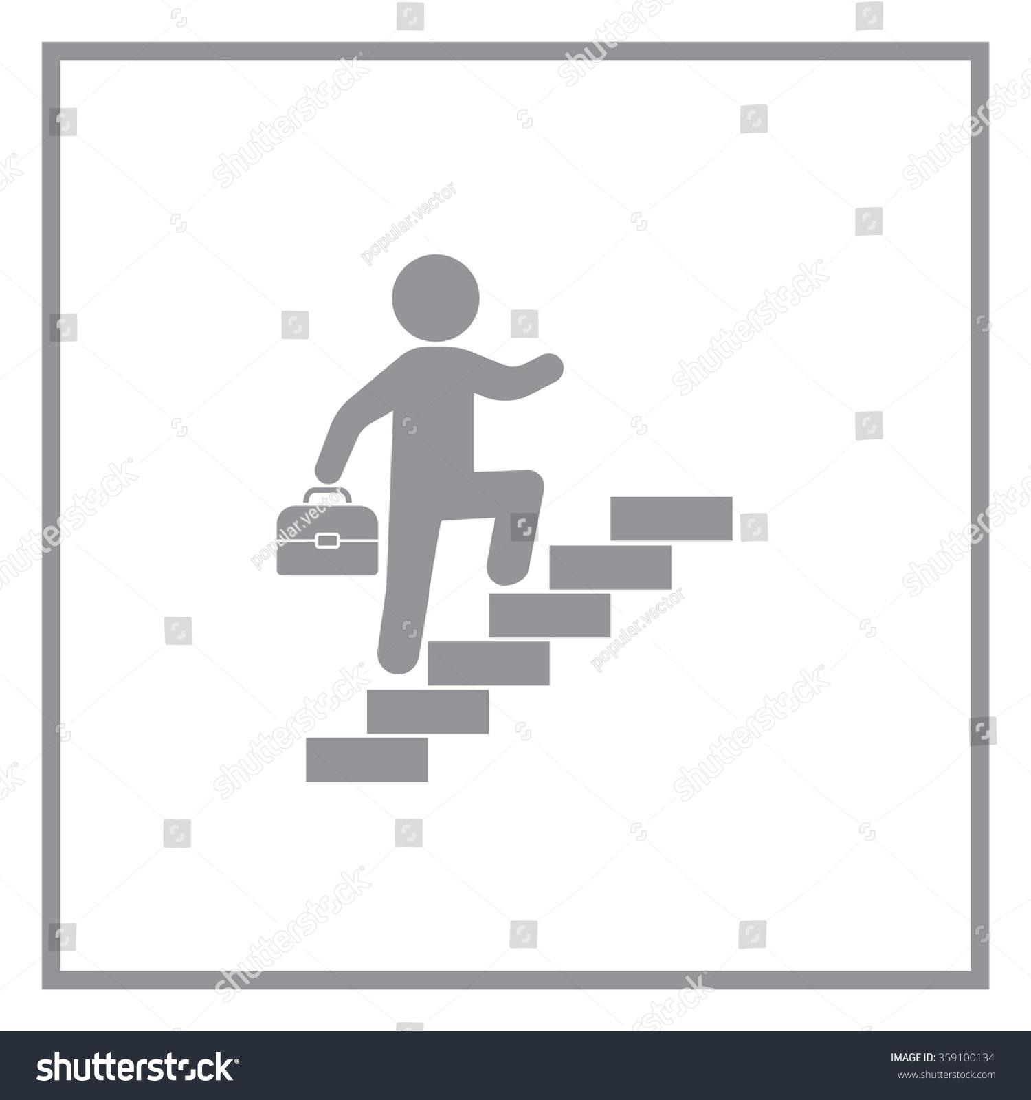 Concept Businessman On Stair Steps Metaphor Stock Vector