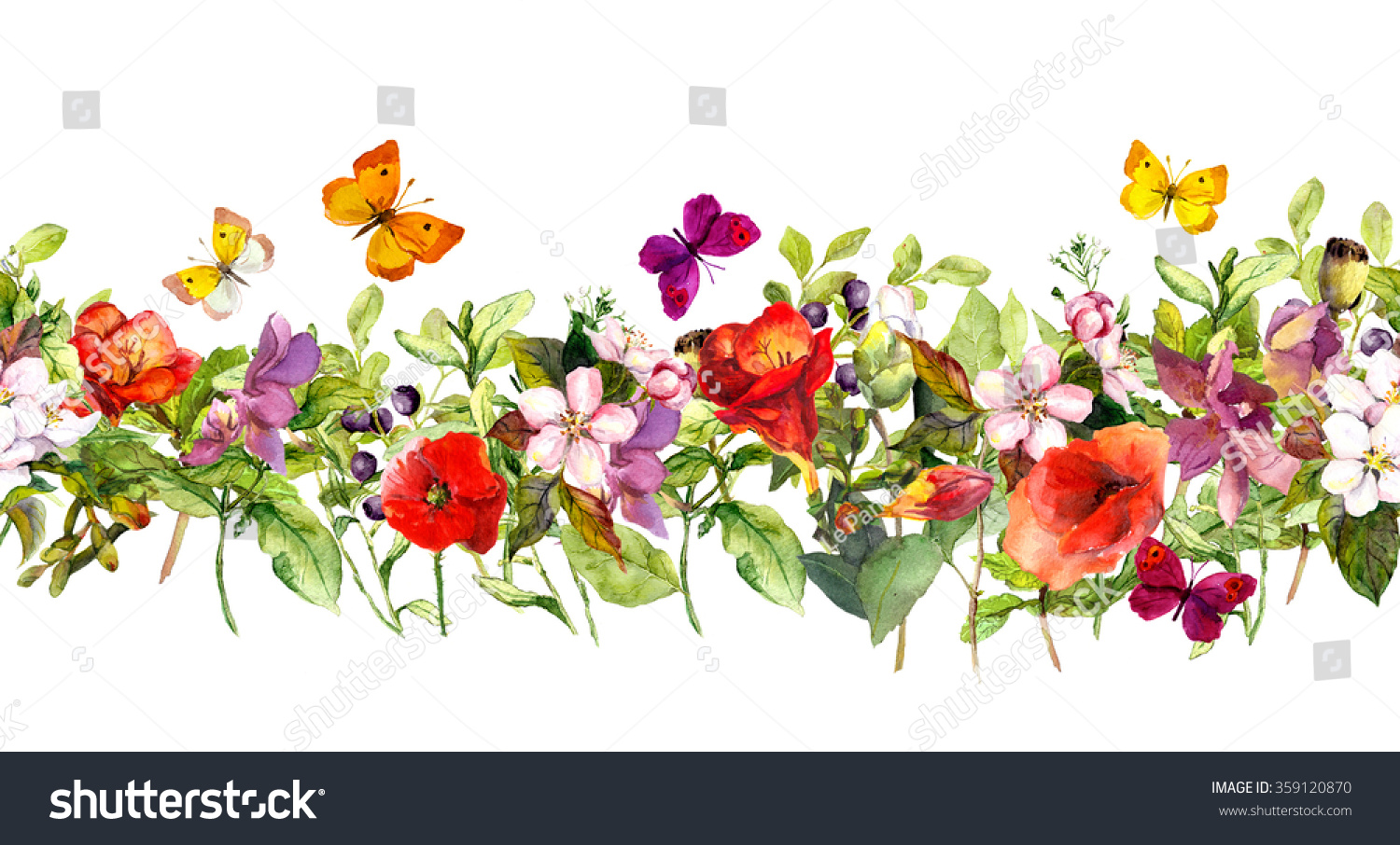 Floral Horizontal Border Watercolor Meadow Flowers Stock ...