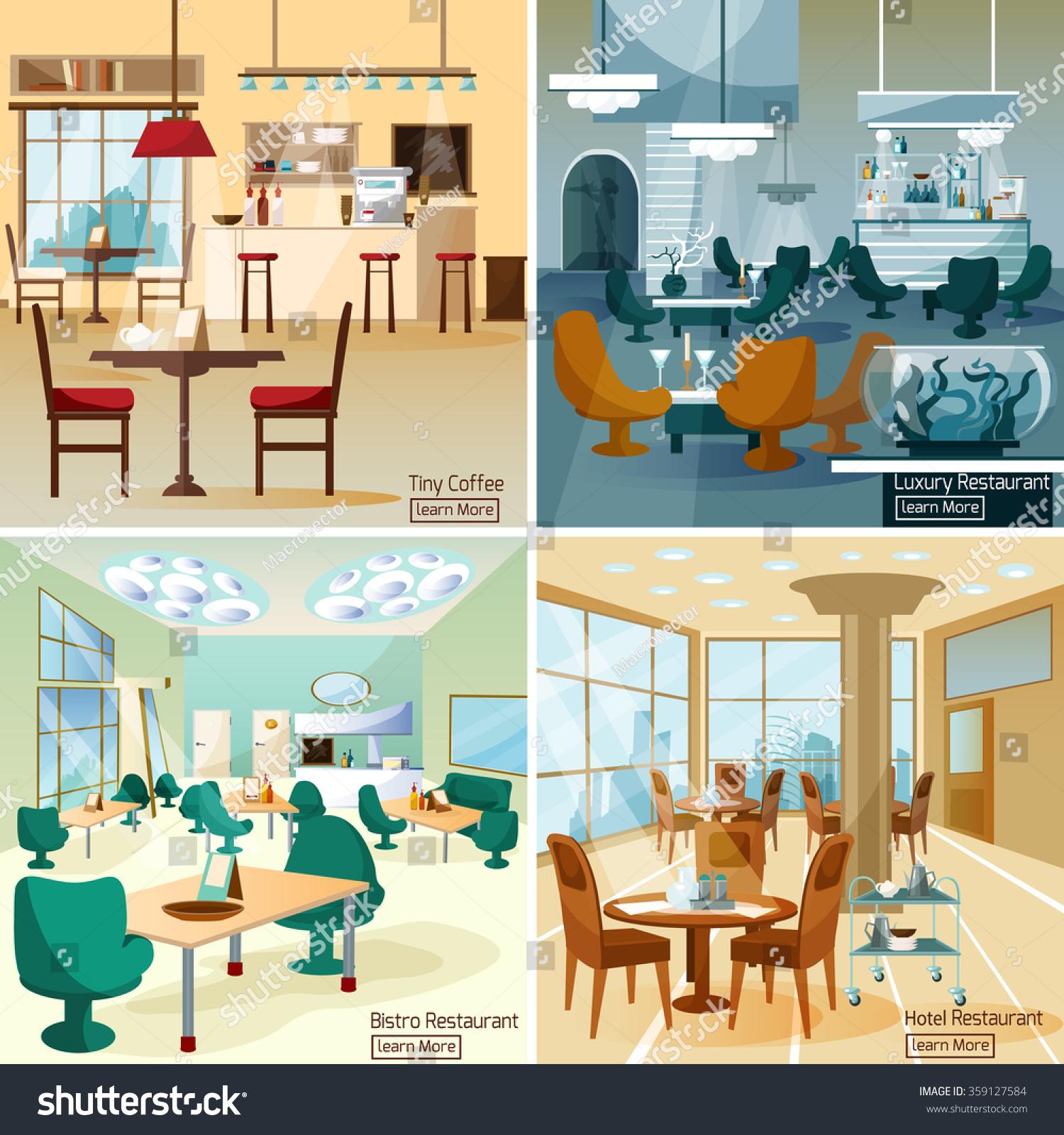 Luxury hotel coffee bar interior stock vector