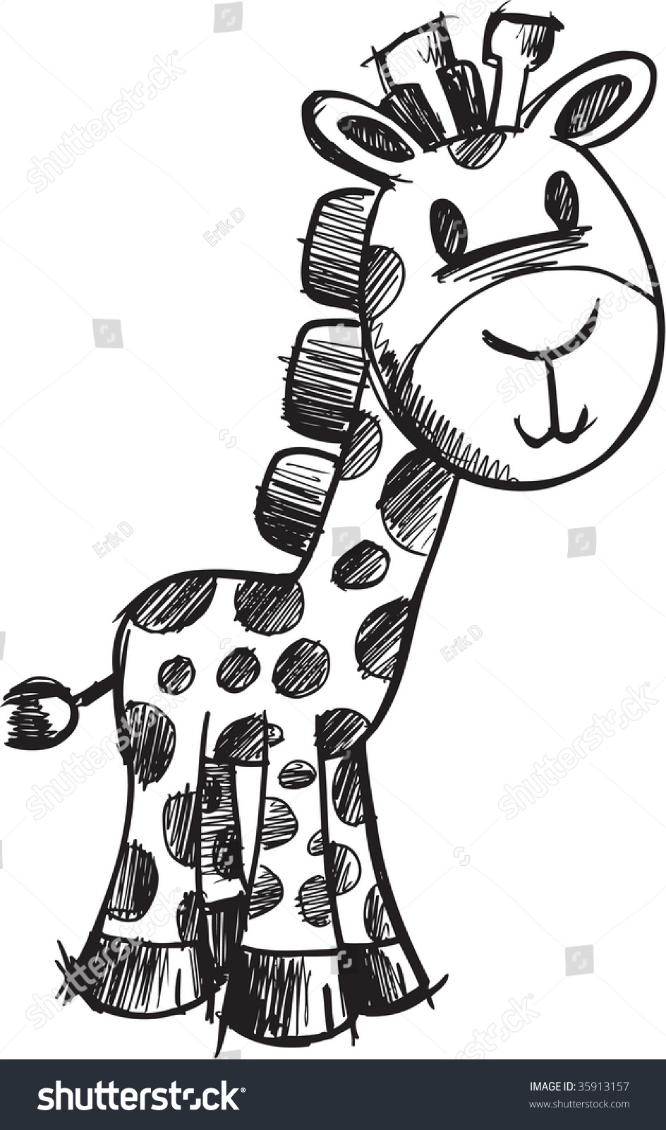 sketchy giraffe vector illustration stock vector 35913157