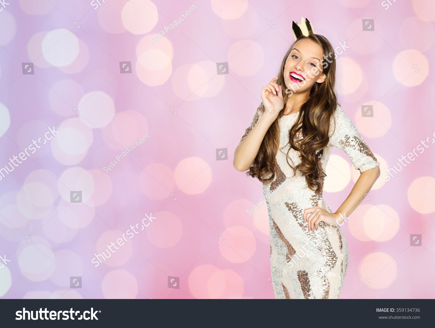 Happy Young Woman Girl Party Dress Stock Photo 359134736 - Shutterstock