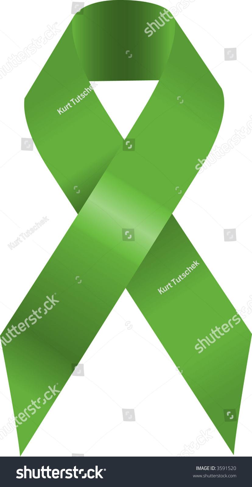 Green Awareness Ribbon Illustration Symbol Environmental Stock Photo