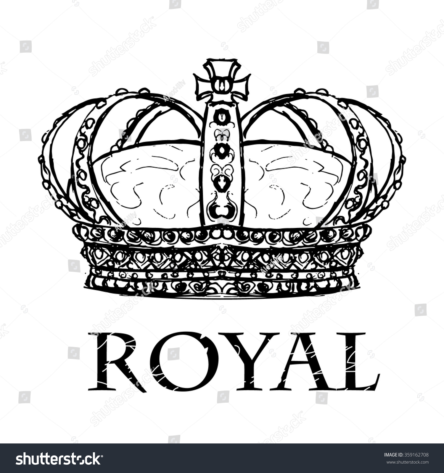 Sketch Crown Royal Sign On White Stock Vector 359162708 ...
