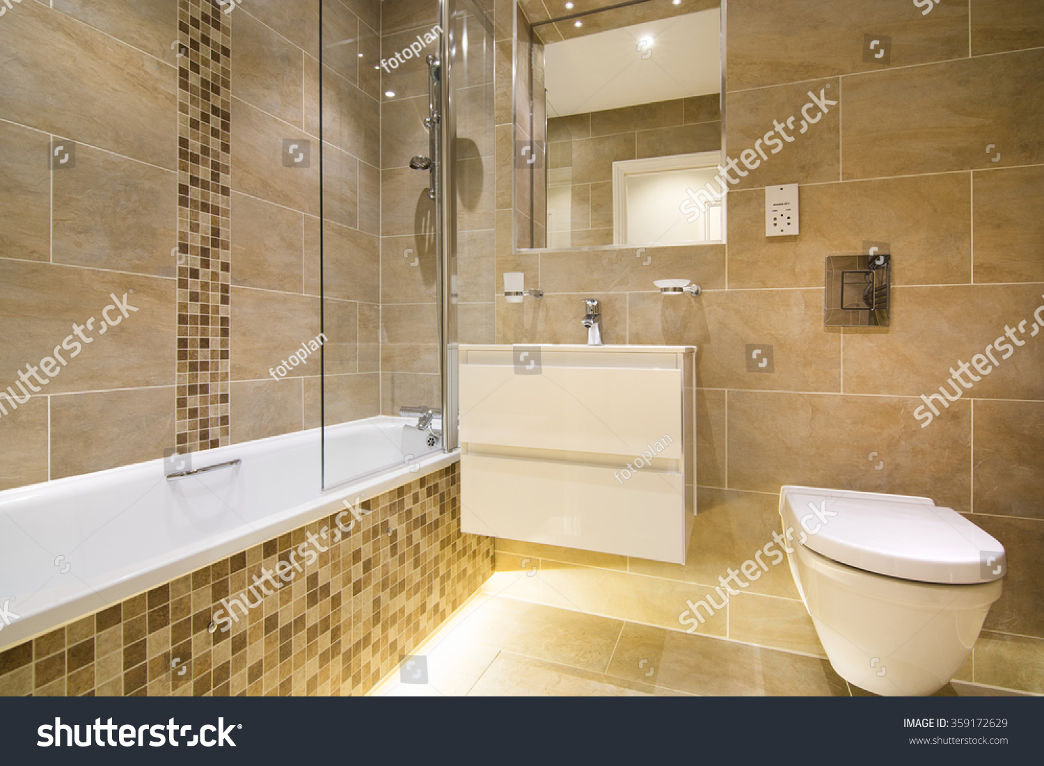 Luxury Three Piece Bathroom In Beige   Brown With Mosaic And Natural Stone  Tiles
