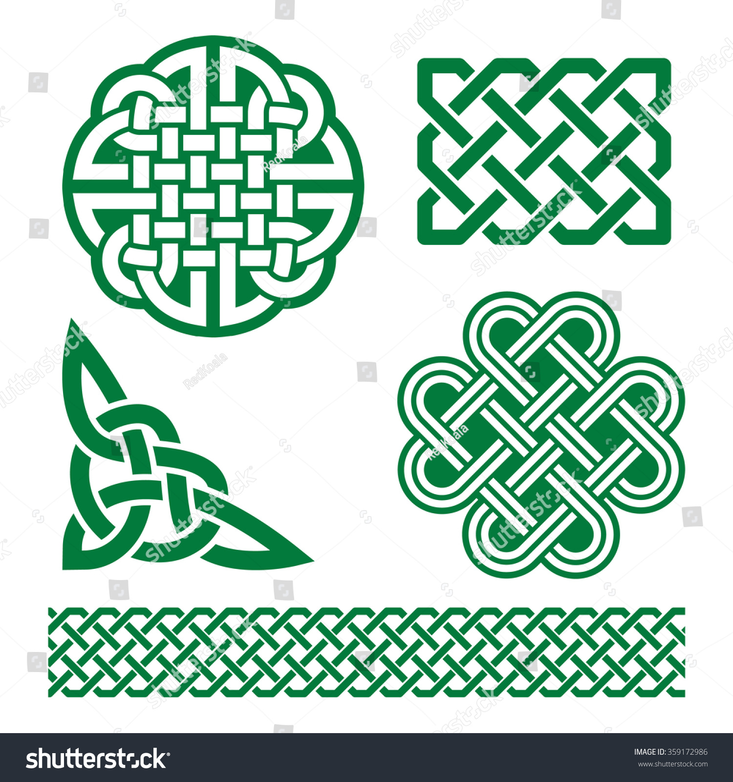 celtic green knots braids patterns st stock vector 359172986