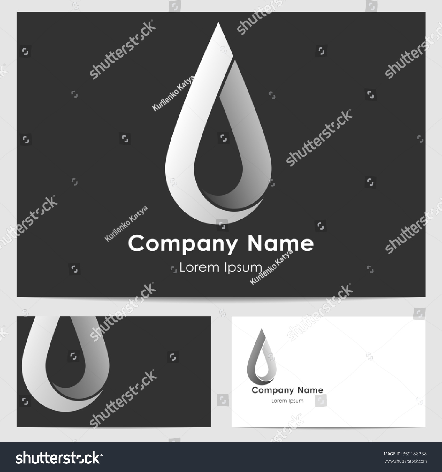 business monochrome card template logo drop stock illustration 359188238 shutterstock. Black Bedroom Furniture Sets. Home Design Ideas