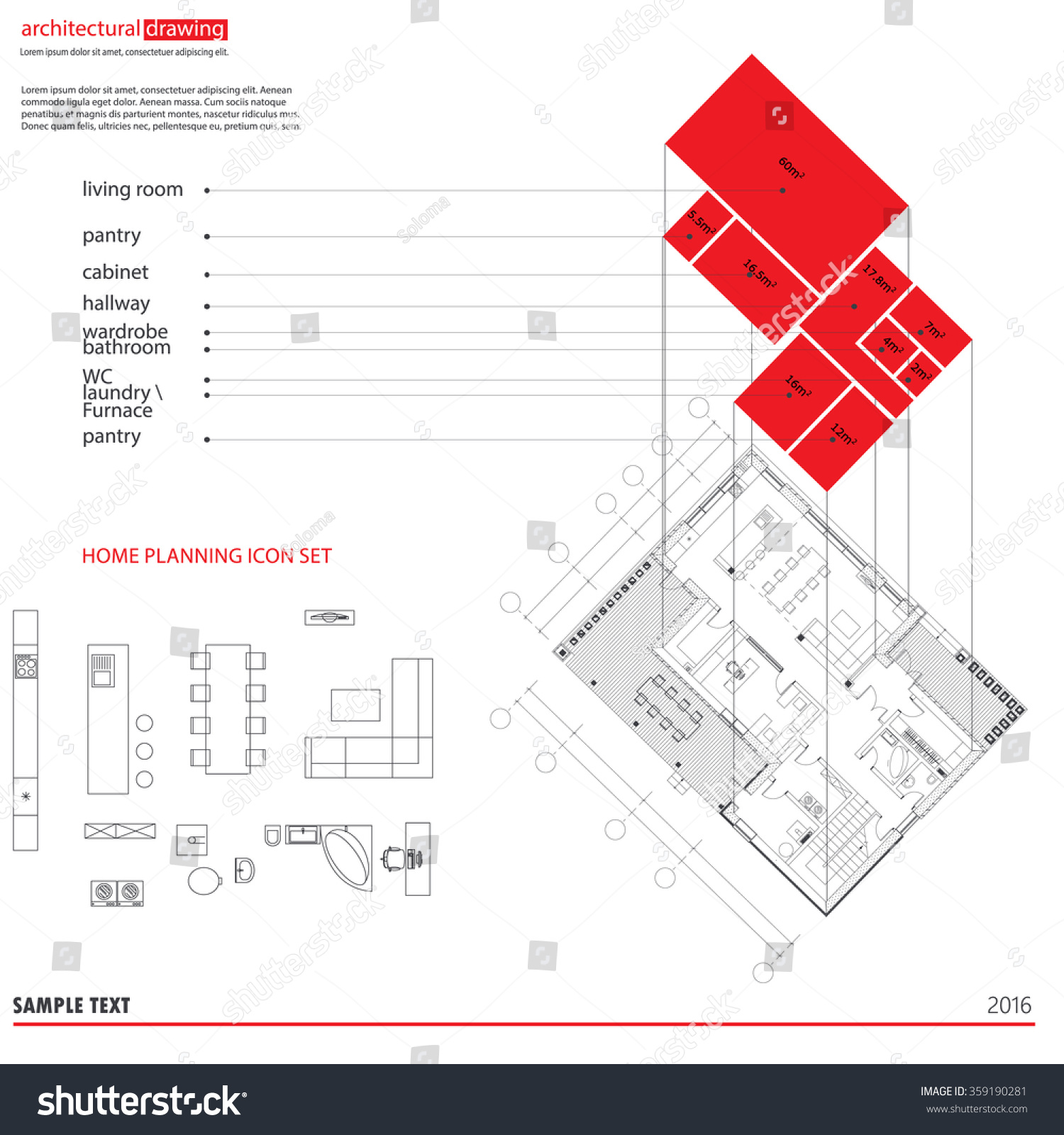 Architectural Drawings Plans Background 3D Diagram Of The Plan Furniture Symbols Used