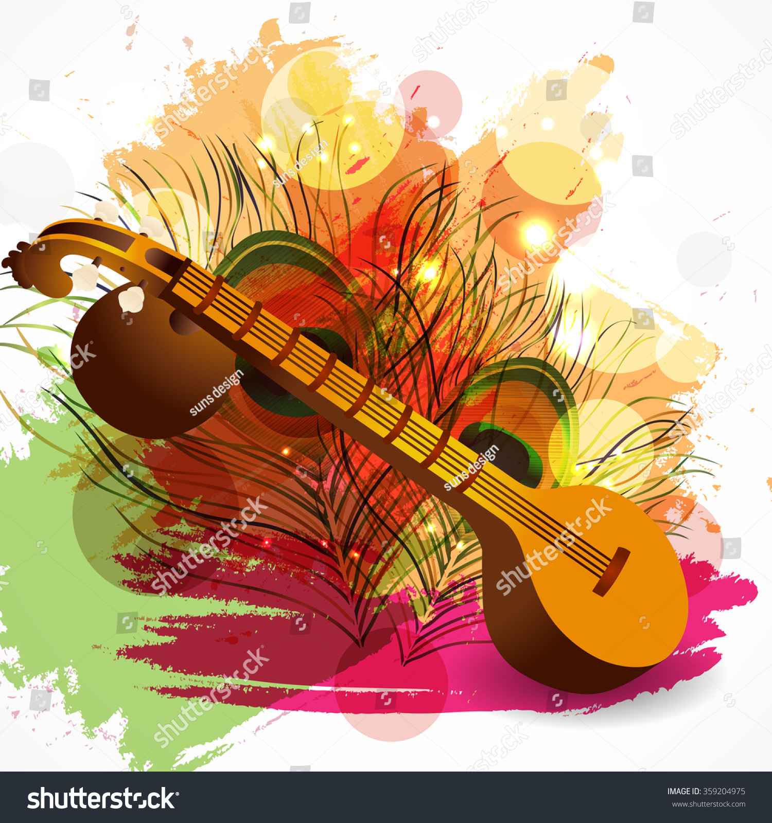 Vector illustration of a Traditional musical instrument Veena with religious offerings on rangoli for Hindu Community festival Vasant Panchami celebration