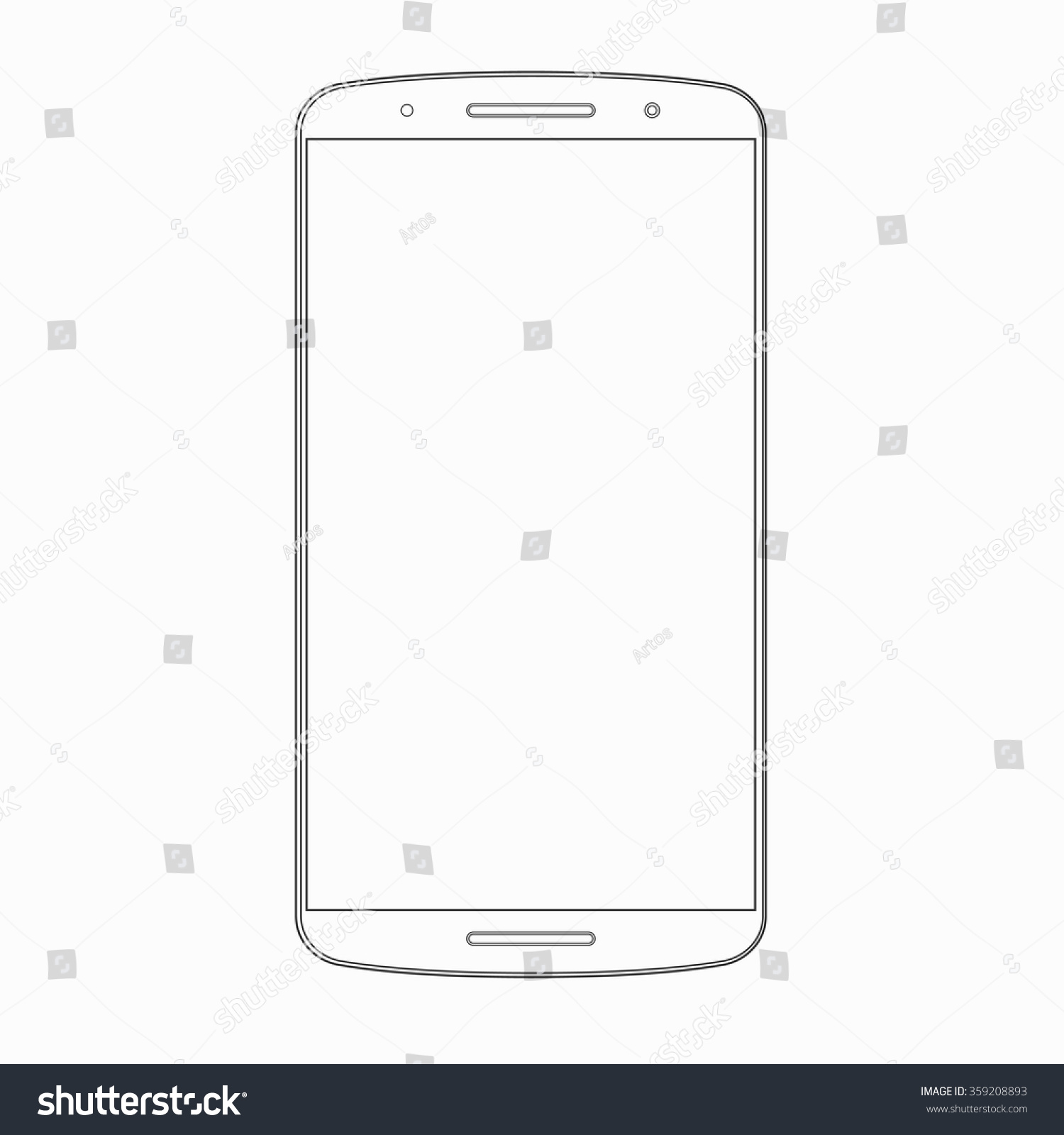 vector smartphone outline template wireframe contour stock vector 359208893 shutterstock. Black Bedroom Furniture Sets. Home Design Ideas