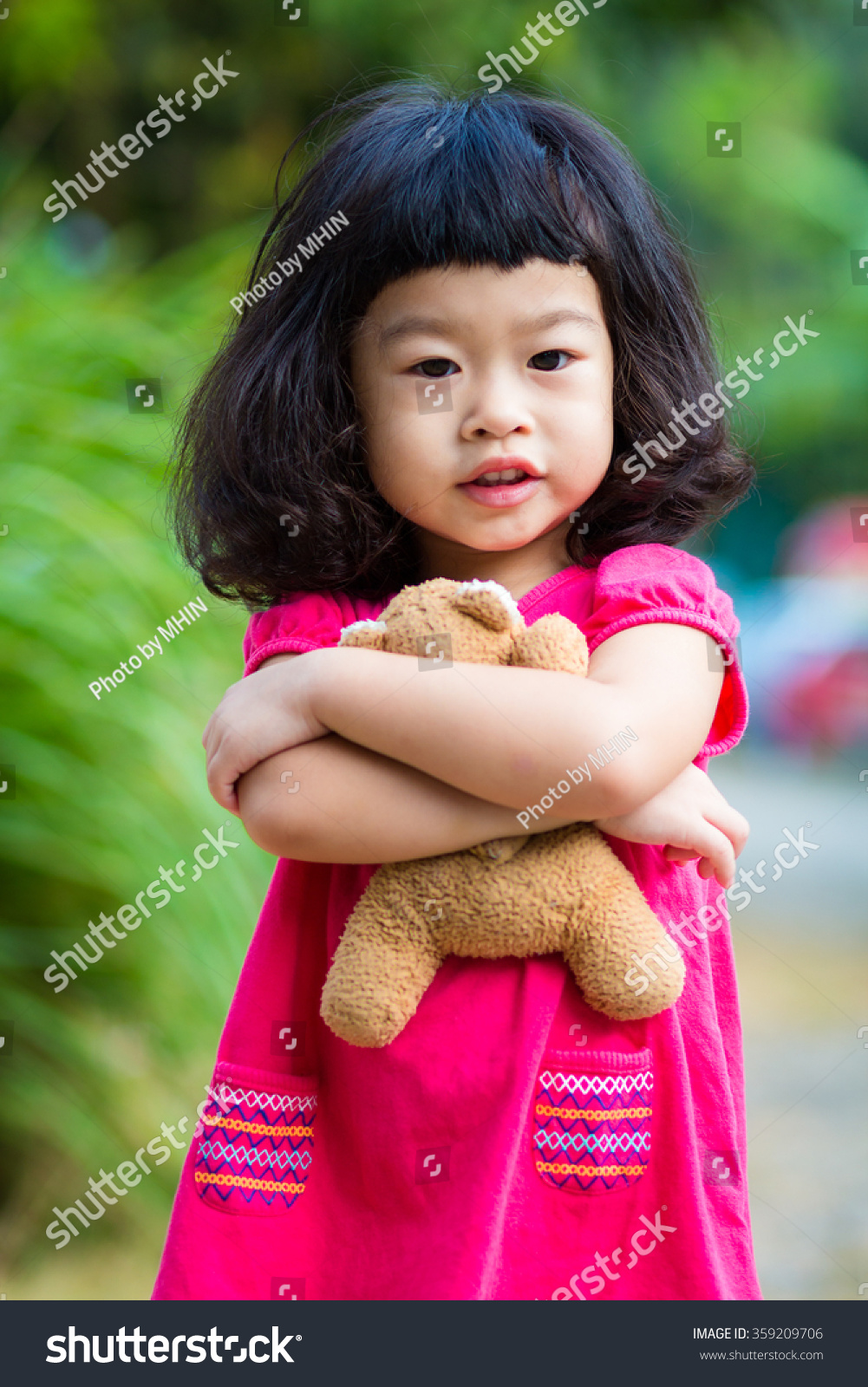 asian baby cute girl curly hair stock photo (royalty free) 359209706