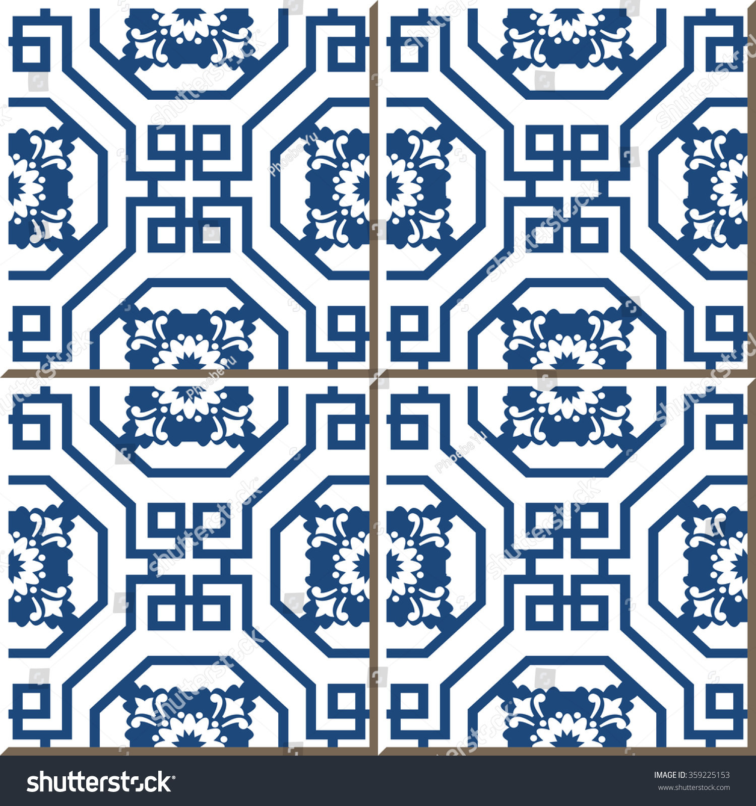 Vintage Seamless Wall Tiles Chinese Blue Stock Vector 359225153 ...