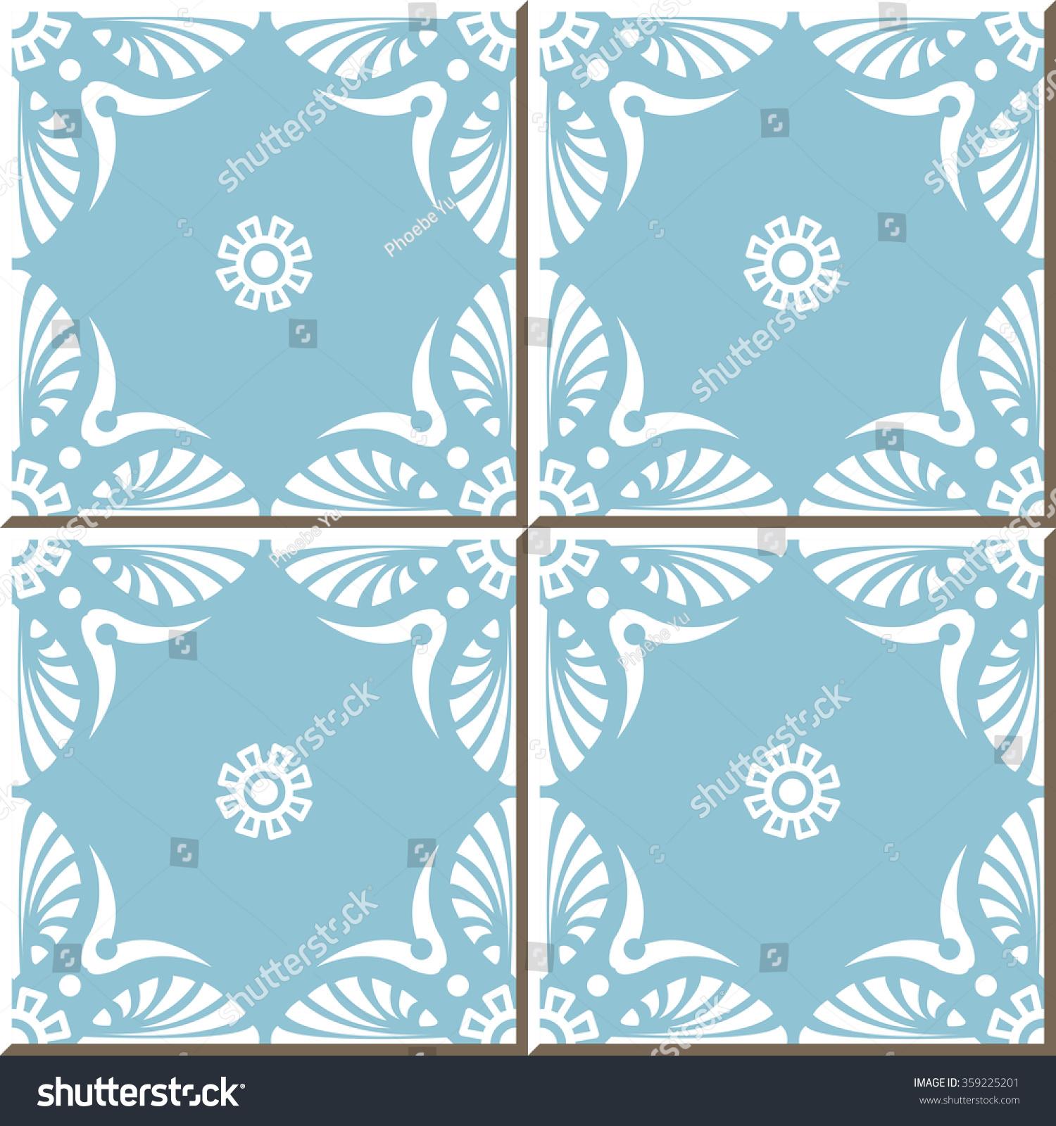 Vintage Seamless Wall Tiles Blue Fan Stock Vector 359225201 ...