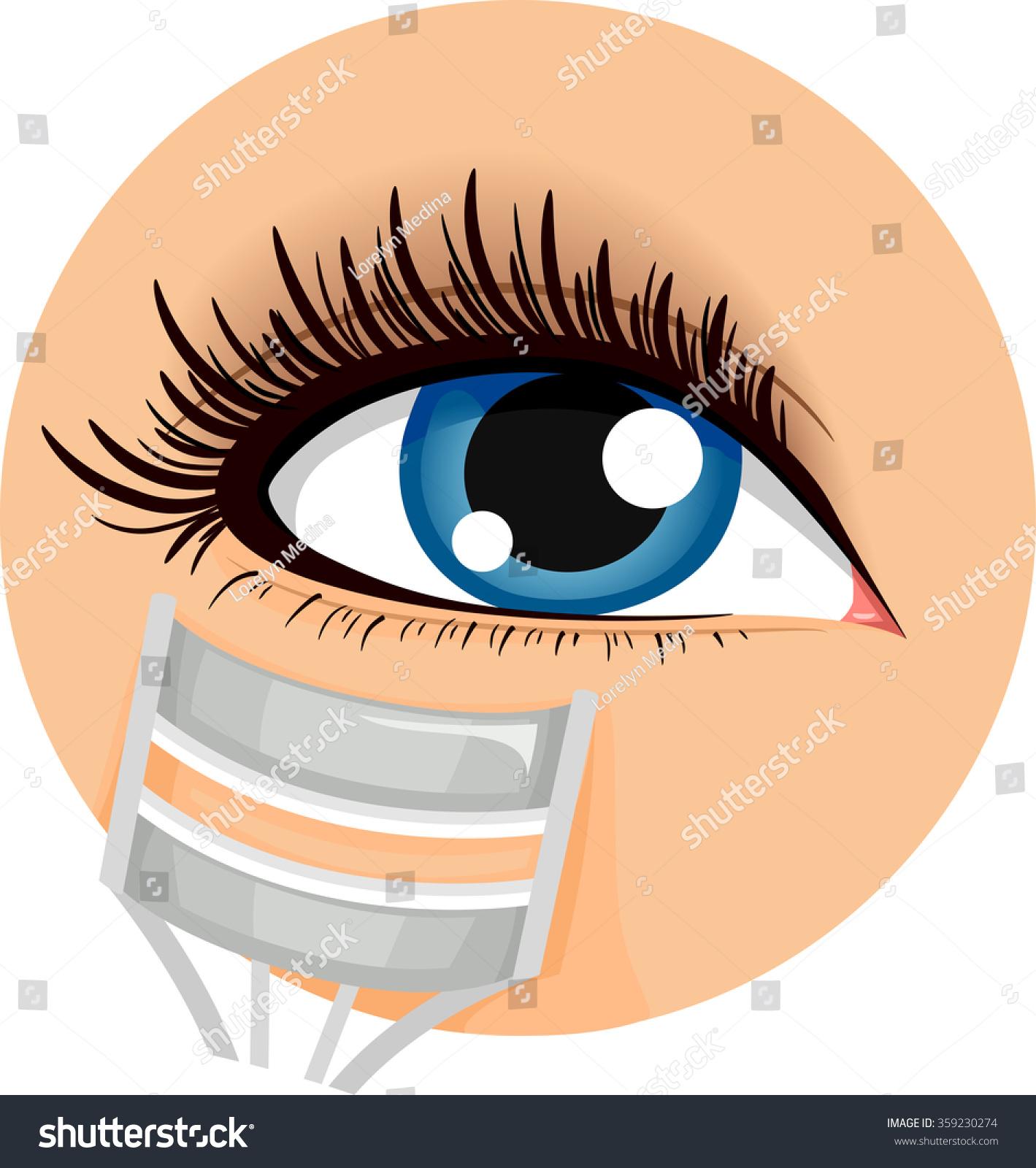 Illustration Icon Demonstrating How Use Eyelash Stock Vector