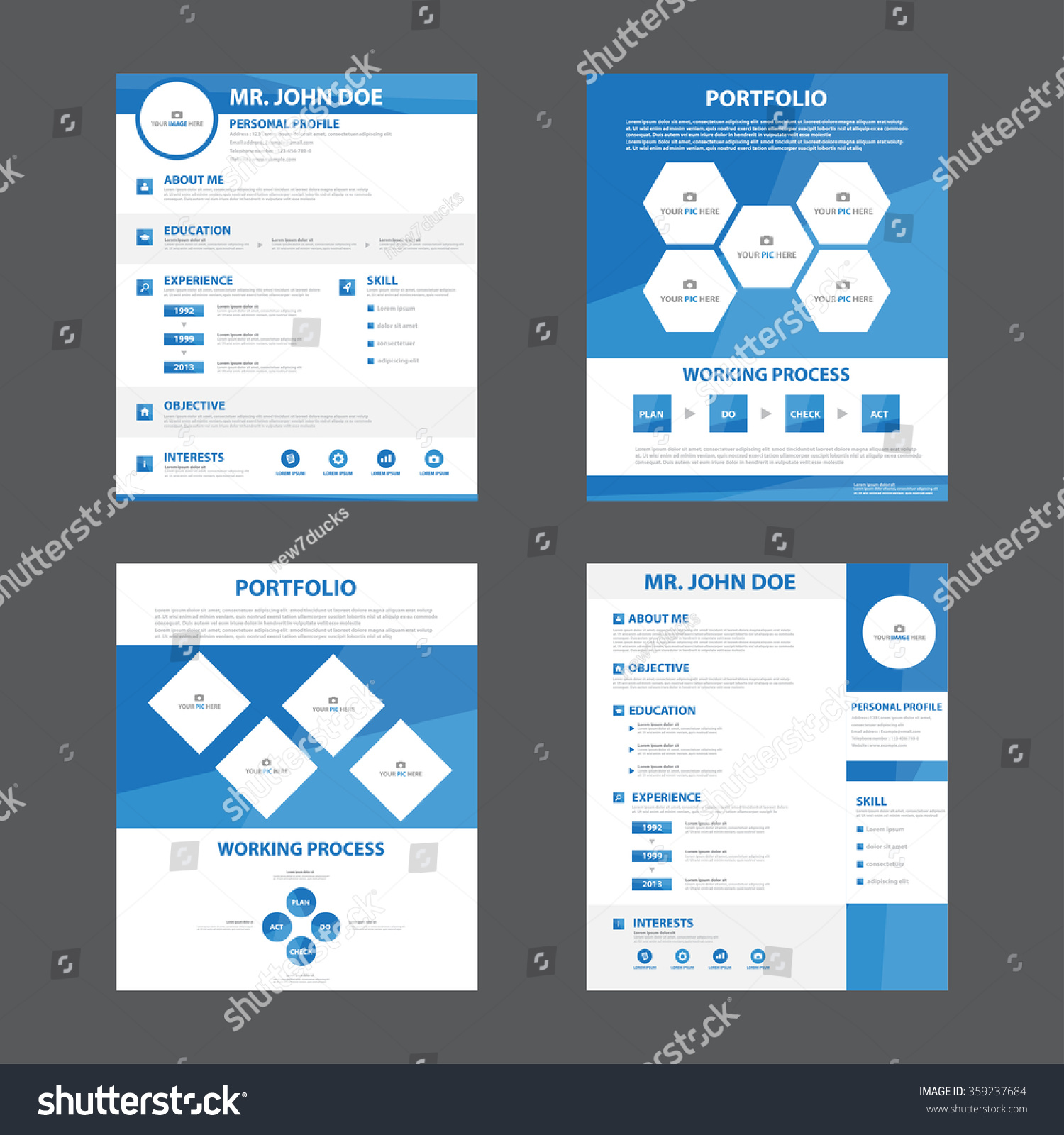 4 smart creative resume business profile cv vitae template layout flat design for job
